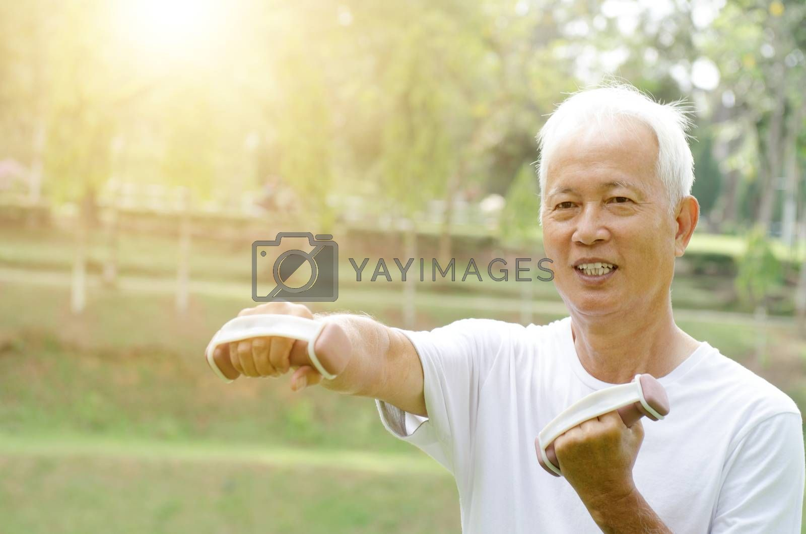 Portrait of healthy gray hair Asian old people doing exercise at outdoor park in morning.