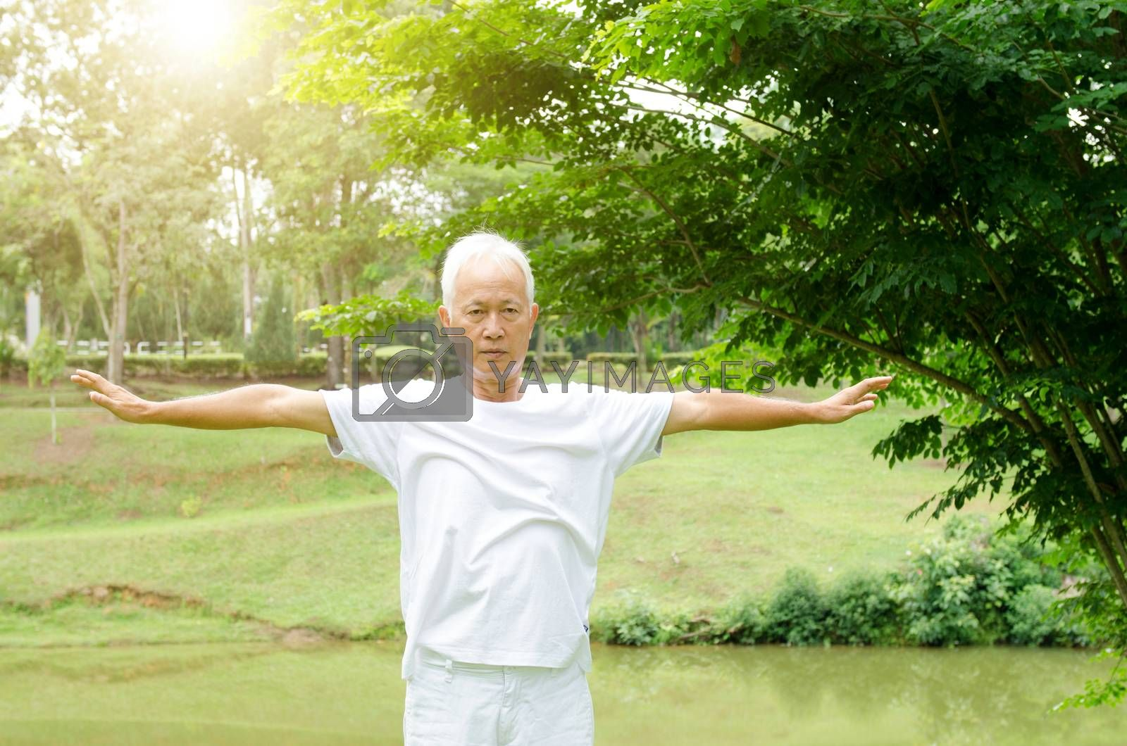 Portrait of healthy gray hair Asian senior man stretching at outdoor park in morning.