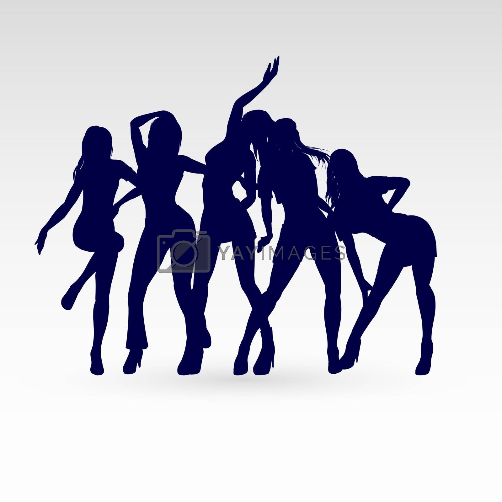 Silhouettes of Go-Go Dance Girls. Silhouettes of Womans on White Background