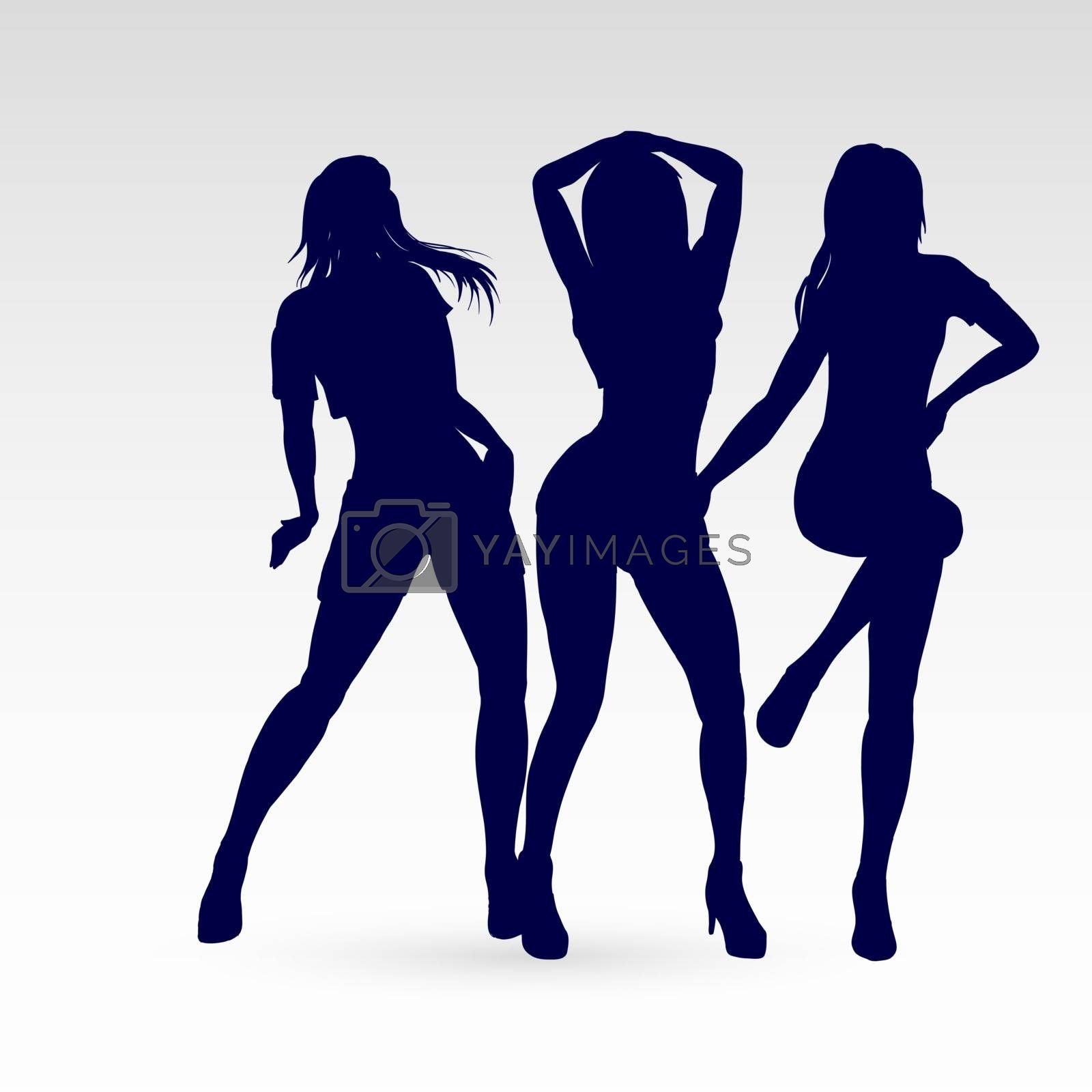 Silhouettes of Go-Go Dance Girls. Illustration Silhouettes of Womans