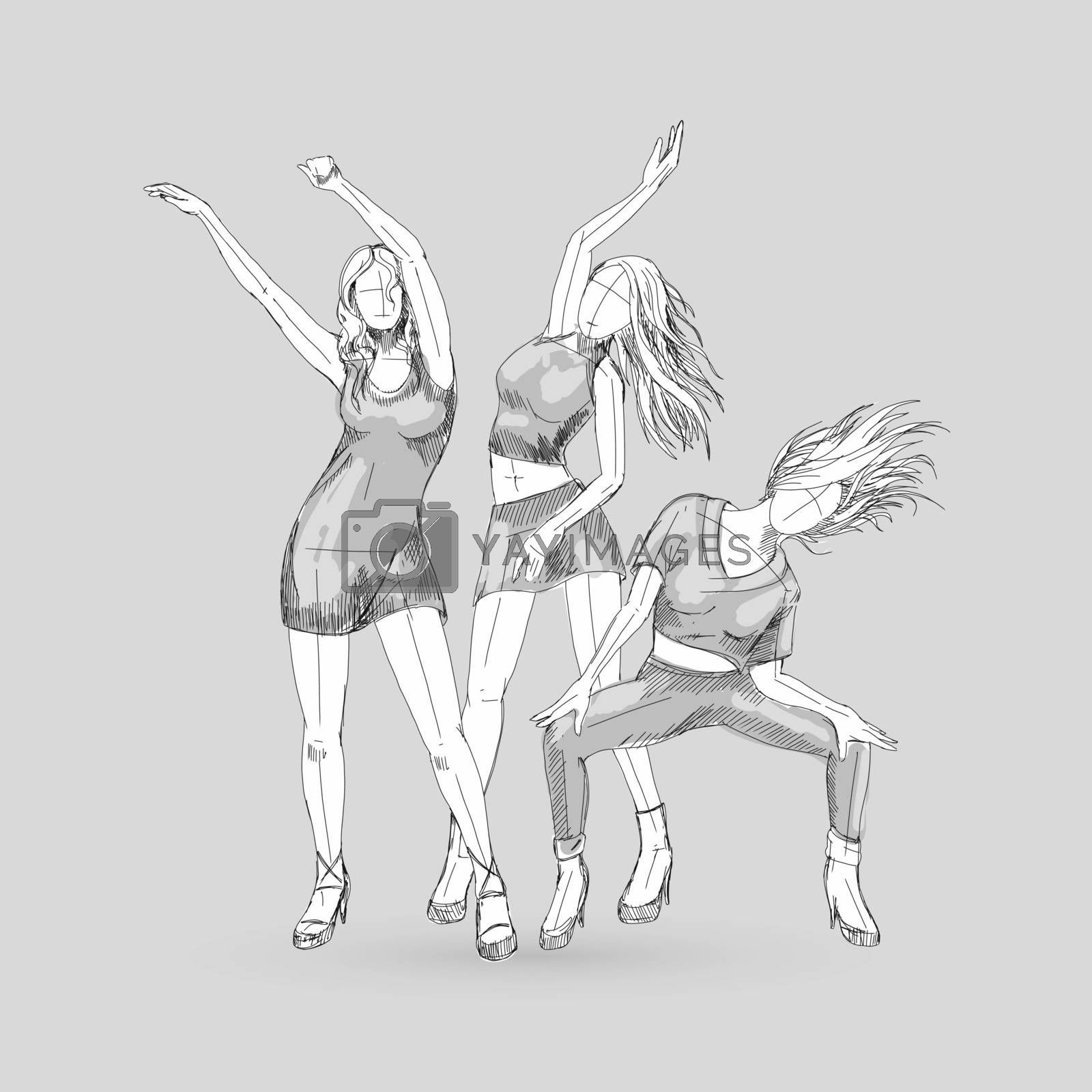 Sketchs of Go-Go Dance Girls. Illustration Silhouettes of Womans on White Background for Design