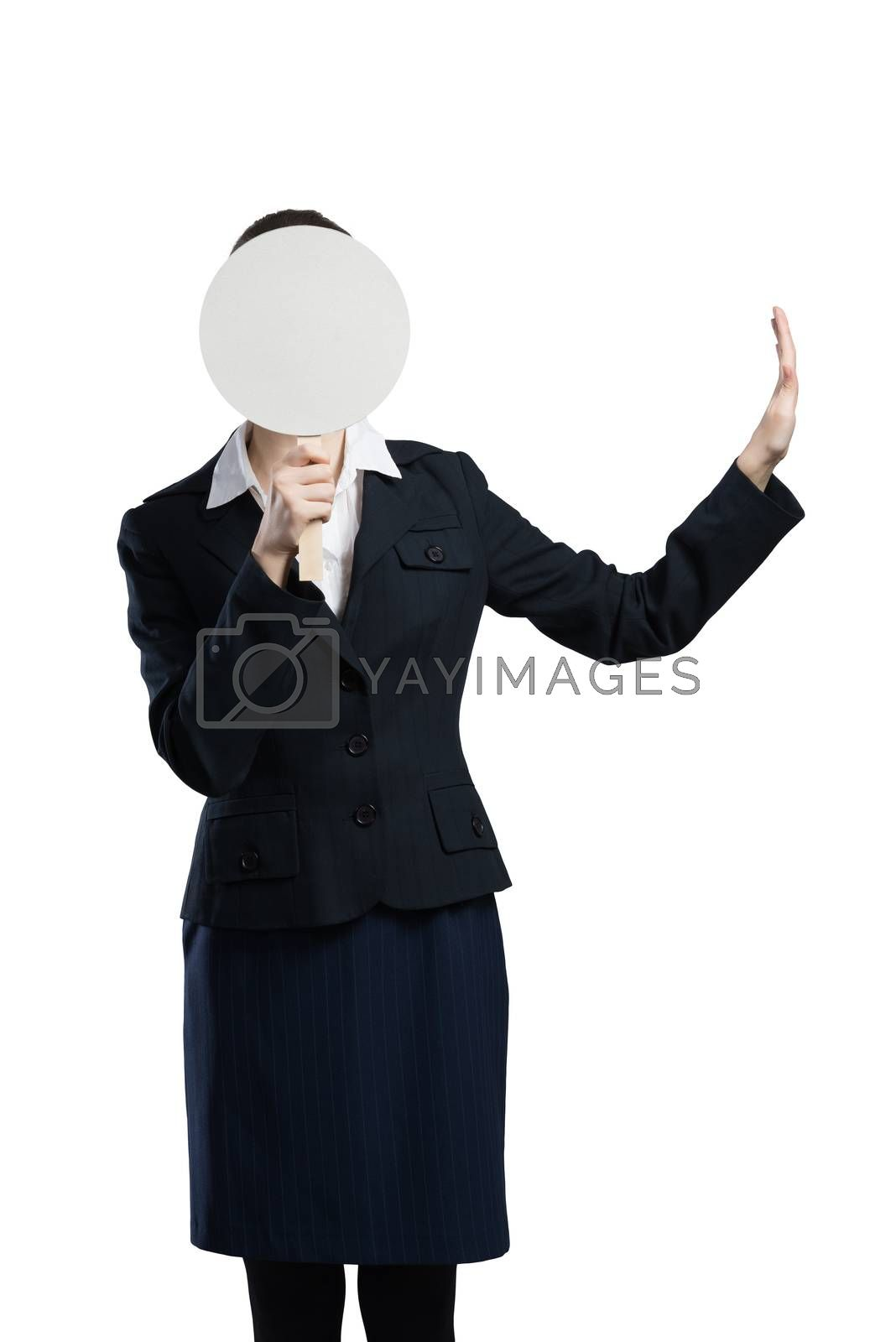 Businesswoman hiding her face behind round banner with smiley