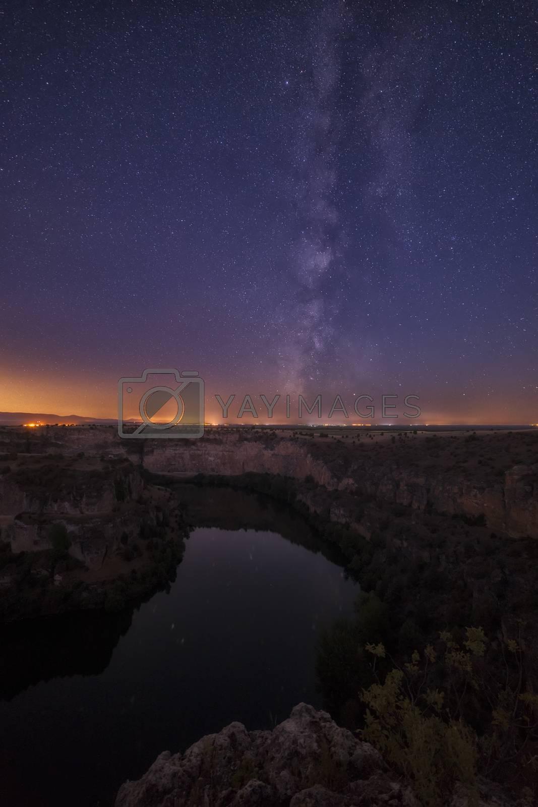 Milky Way over Duratón river