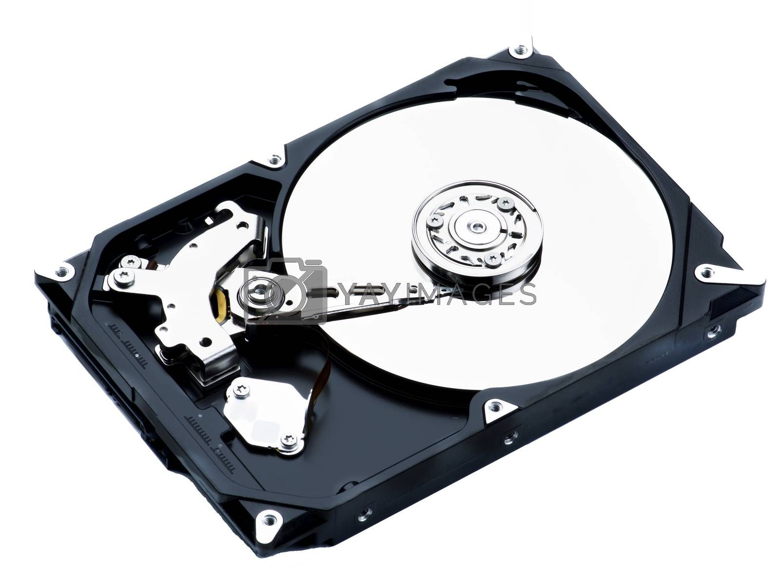 Opened Computer Hard Disk Drive closeup on White background