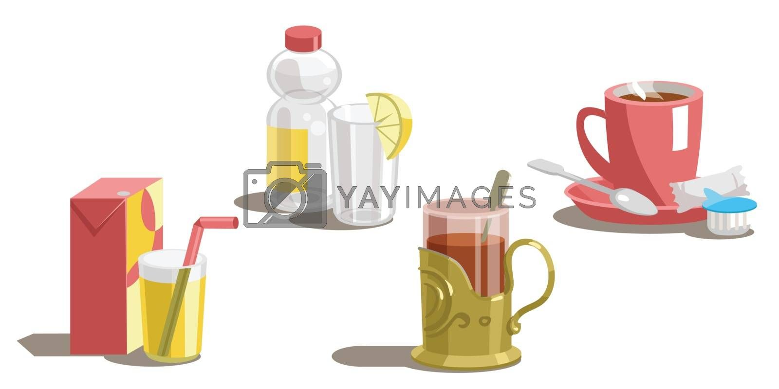 Set of drinks on a white background.Vector by nutela_pancake