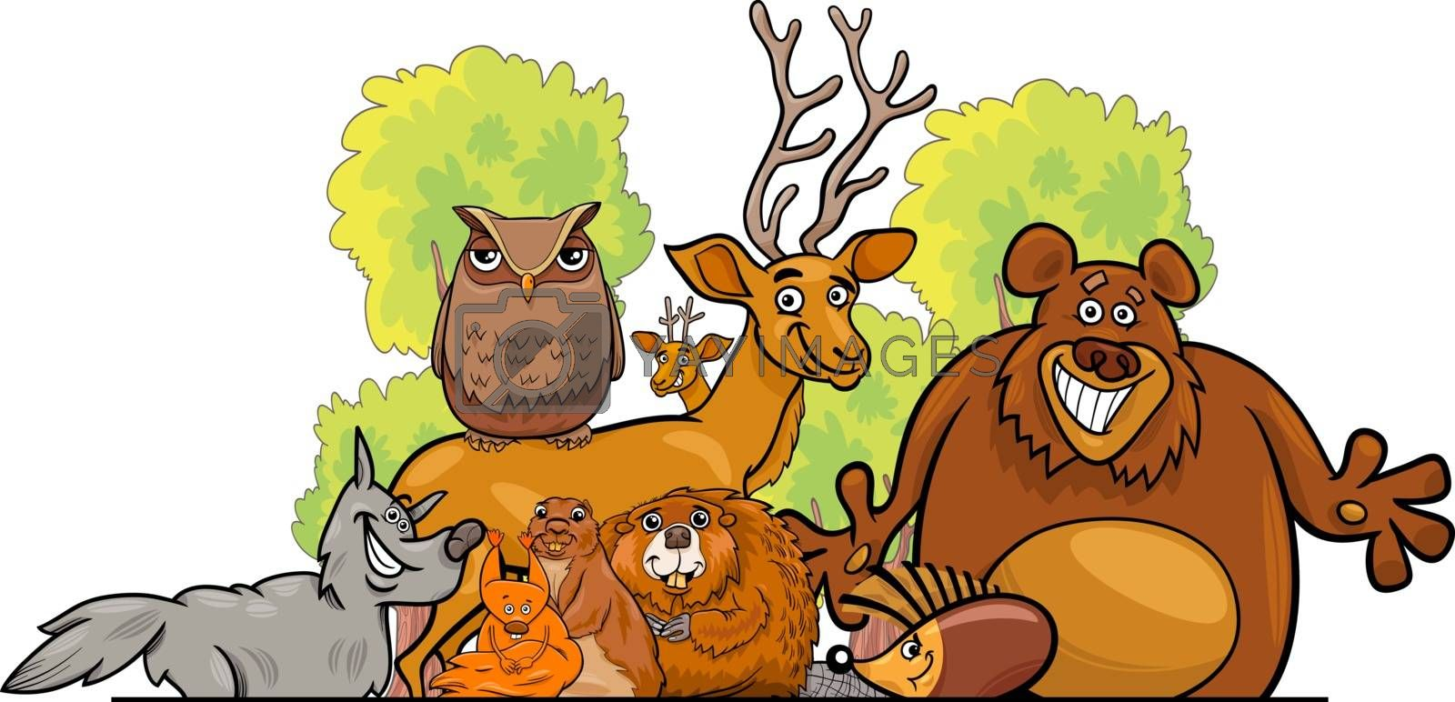 Cartoon illustration of Forest Animal Characters Group
