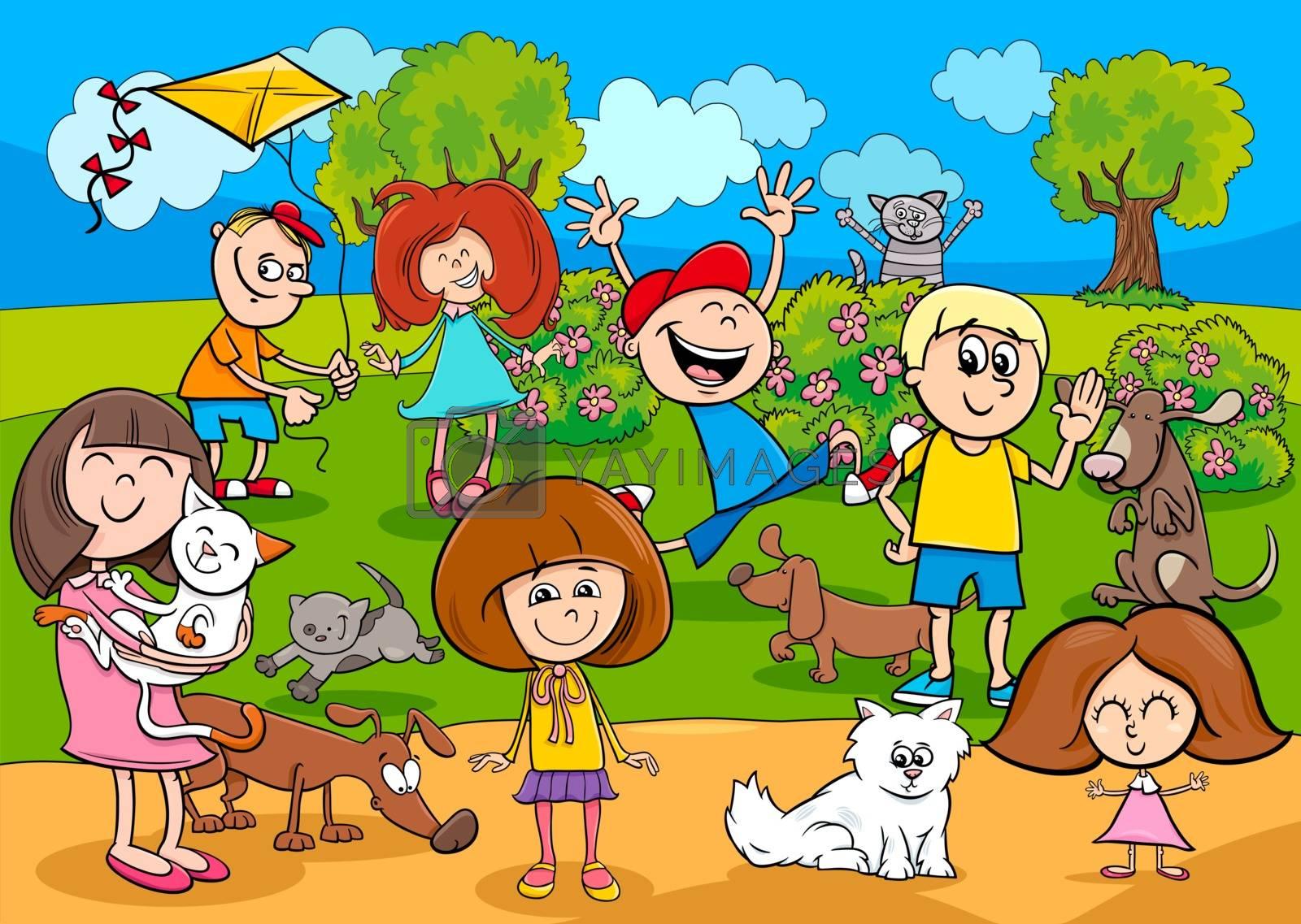 cartoon kids with pets in the park by izakowski