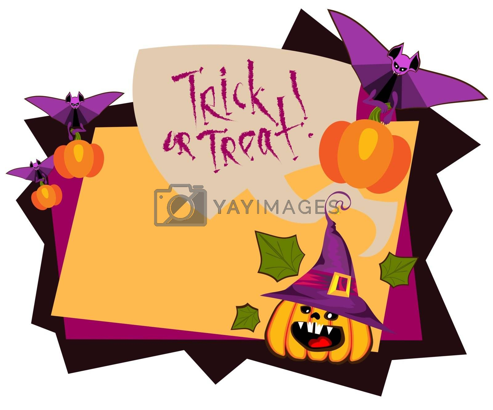 Background Halloween Day , flying bat with pumpkin in front of the autumn frame and speech bubble, vector illustration , banner text