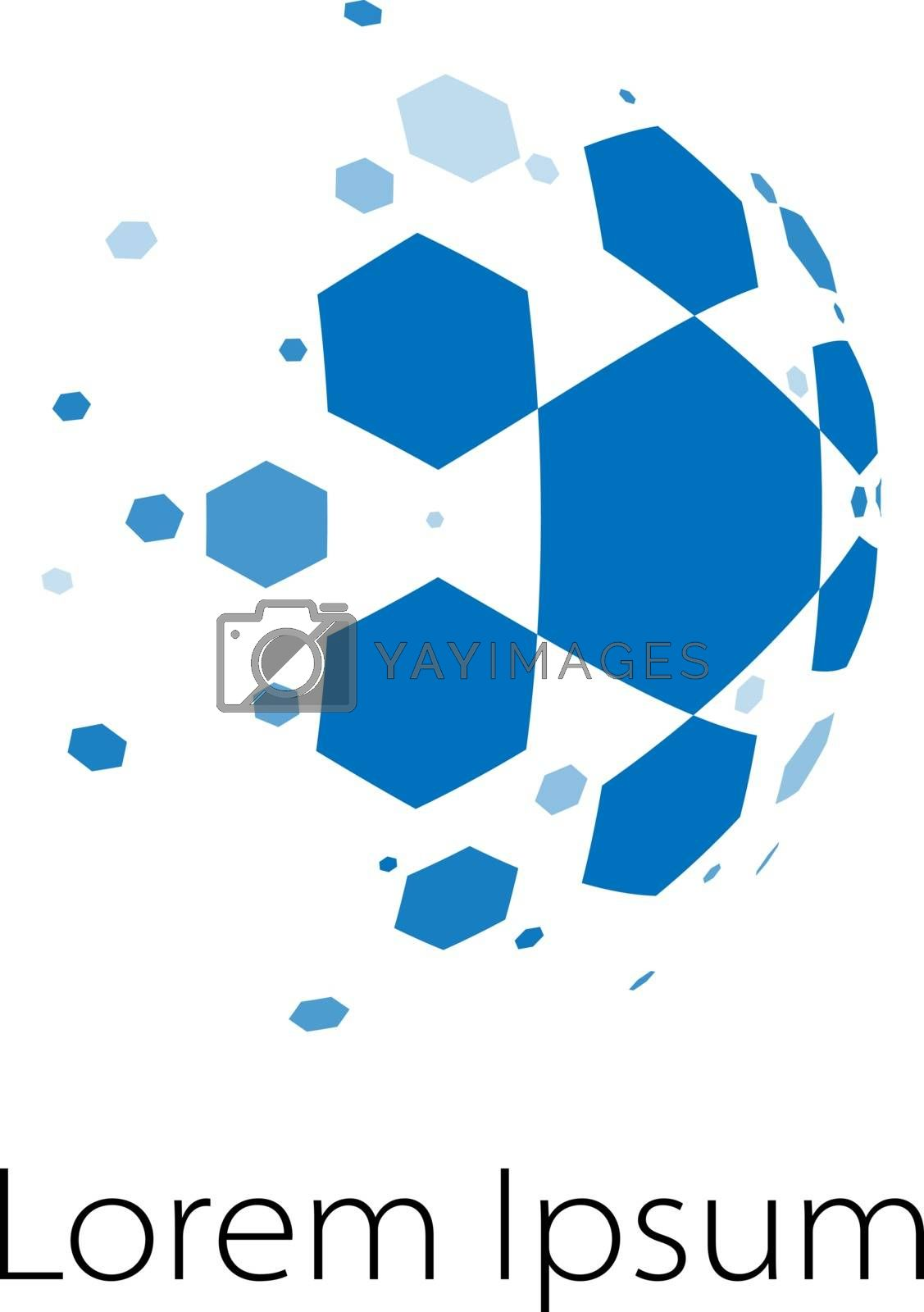 Abstract vector spheric logo of honeycomb cells like a comet or soccer ball with desintegrating pieces