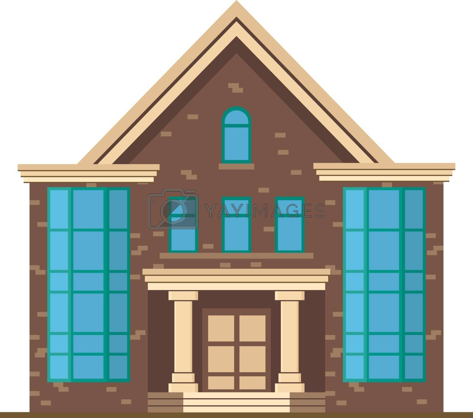 Vector library, flat design. The house is in urban.
