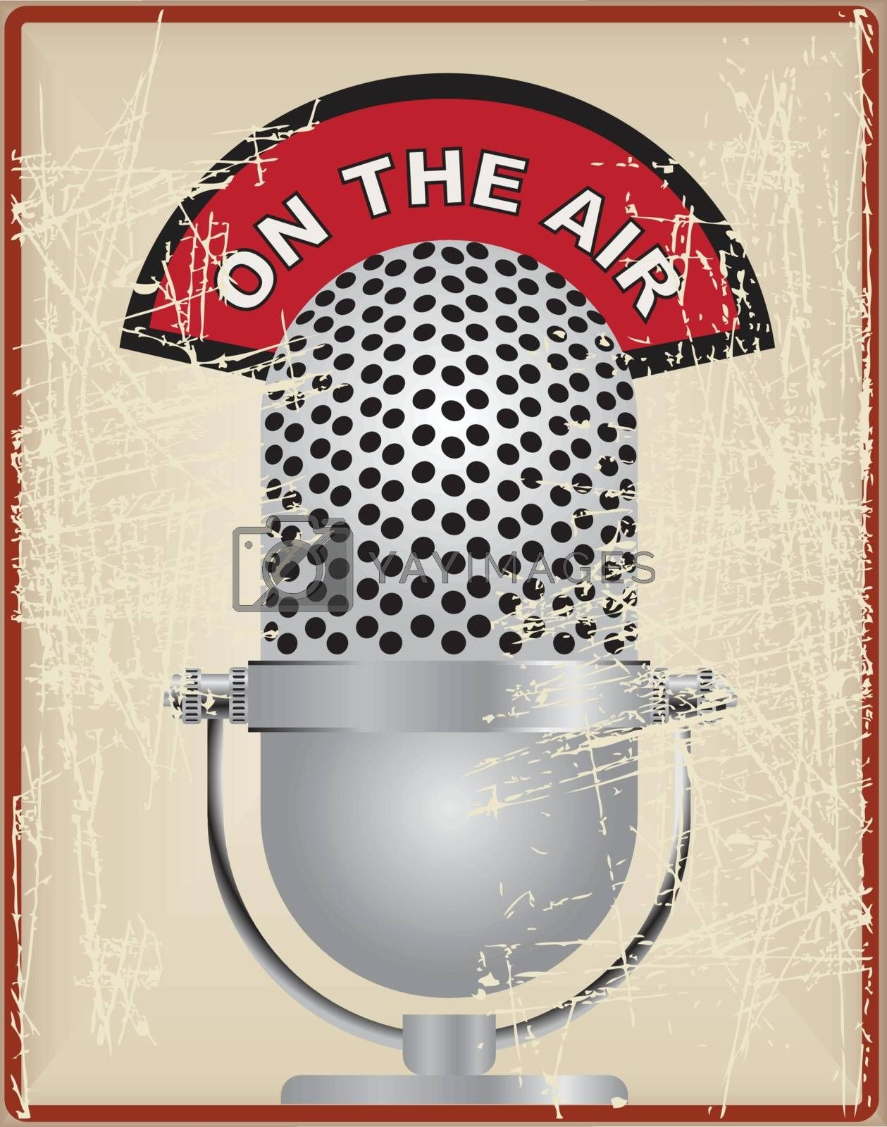 Vintage card with old microphone and text on the air
