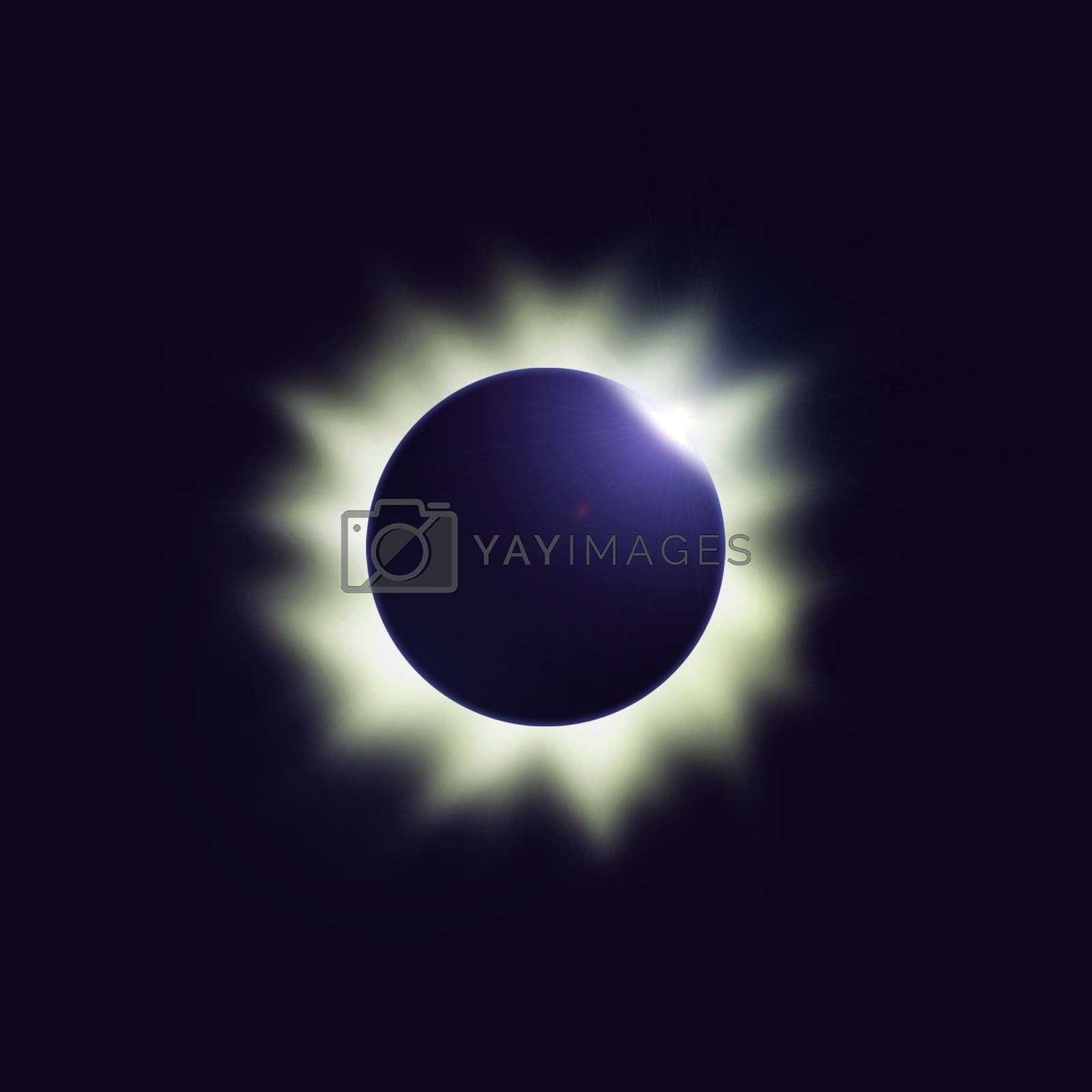 Total eclipse of the sun with heat corona in deep blue space. Digital illustration