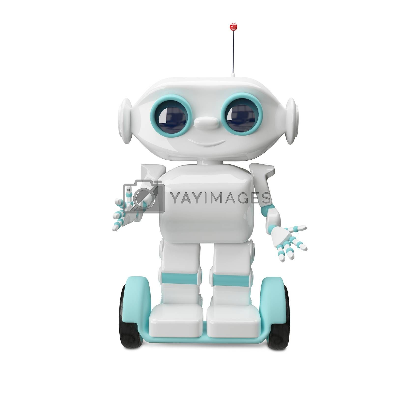 3d Illustration White Robot on Scooter on a Transparent Background