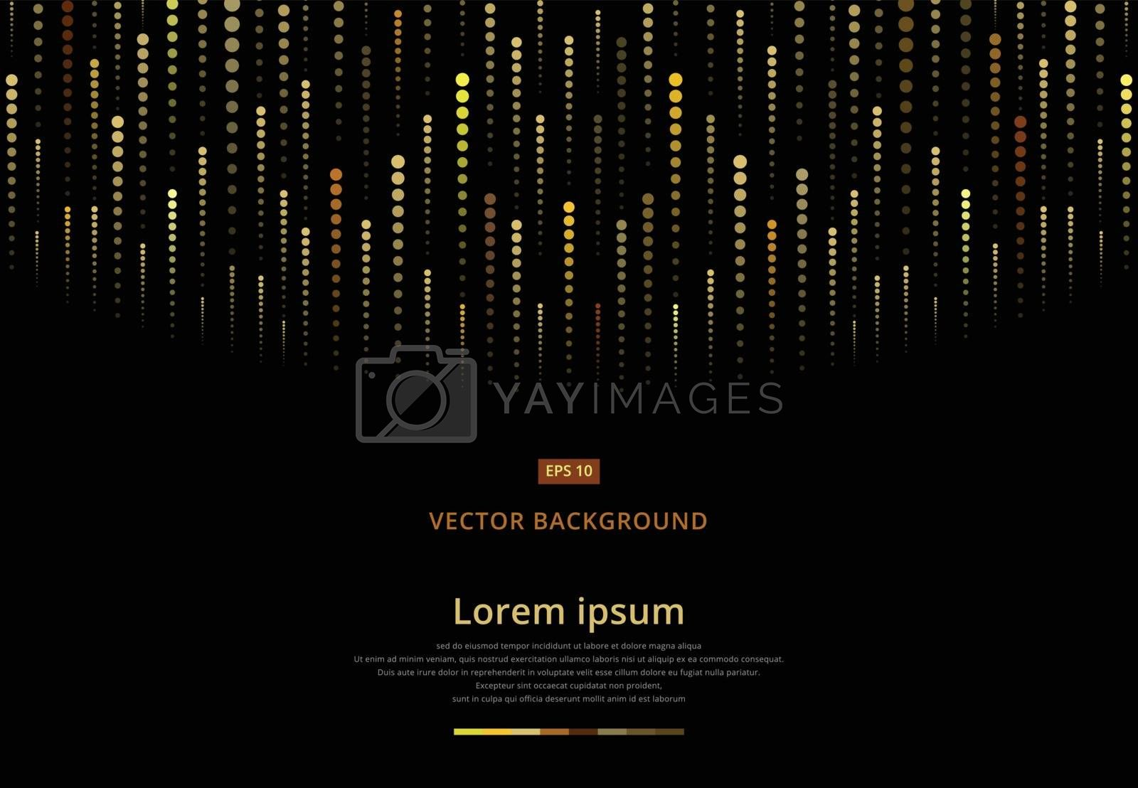 Abstract geometric dots golden halftone, Gold meteor, Vector illustration