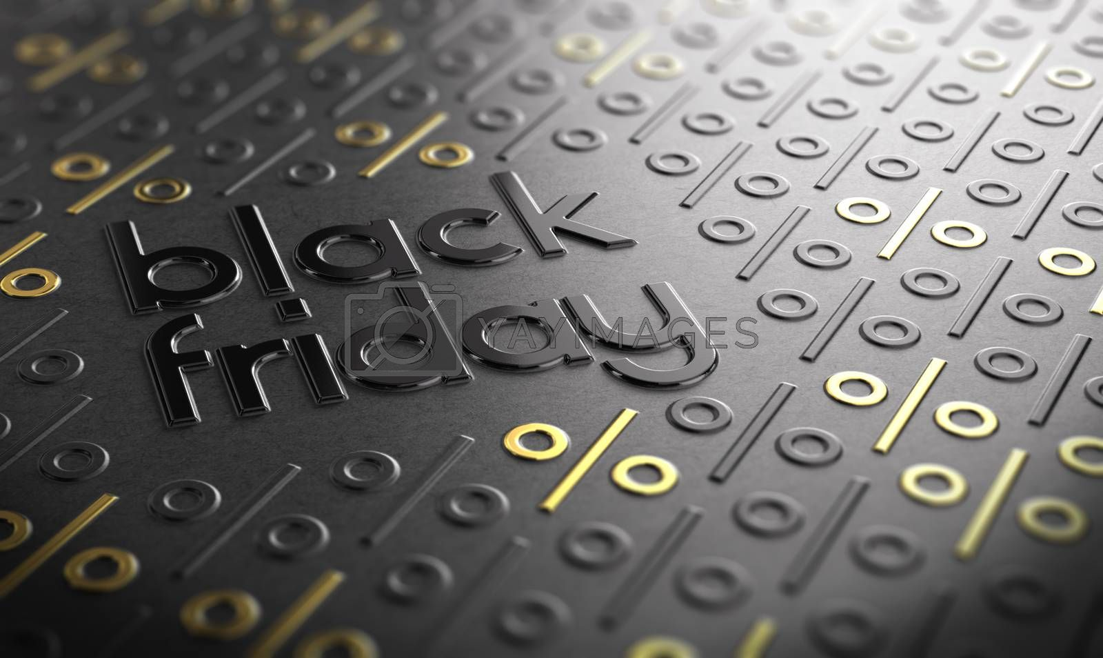 Text Black Friday embossed on paper texture with golden percent symbols. Sales concept.3D illustration.