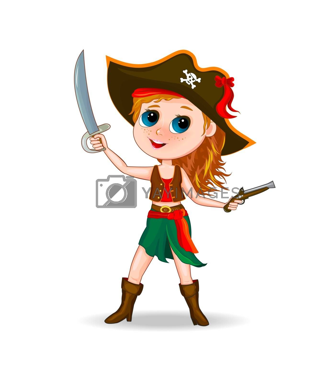 Little girl in a pirate costume. Cartoon girl dressed in a pirate costume , with hat on head and sword in hand.
