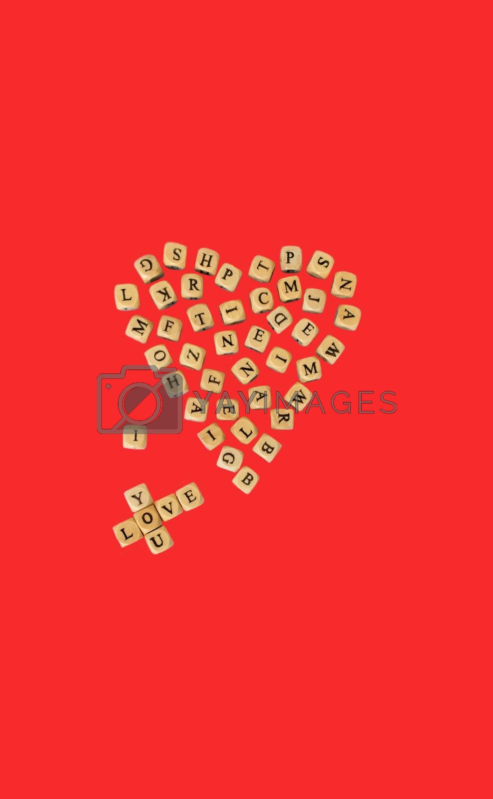 The words I Love You, isolated on red