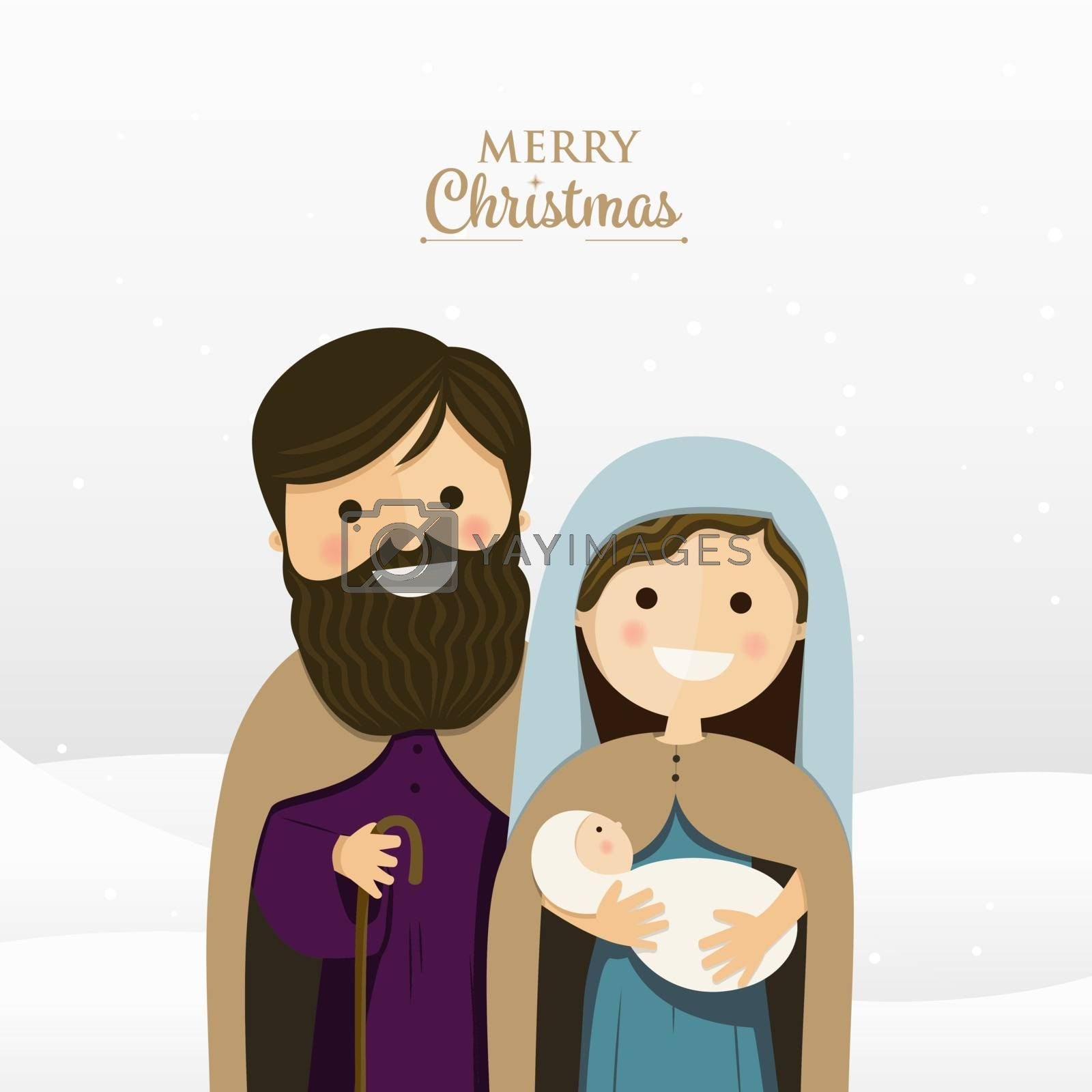 Merry Christmas greeting with Holy family. Vector Illustration