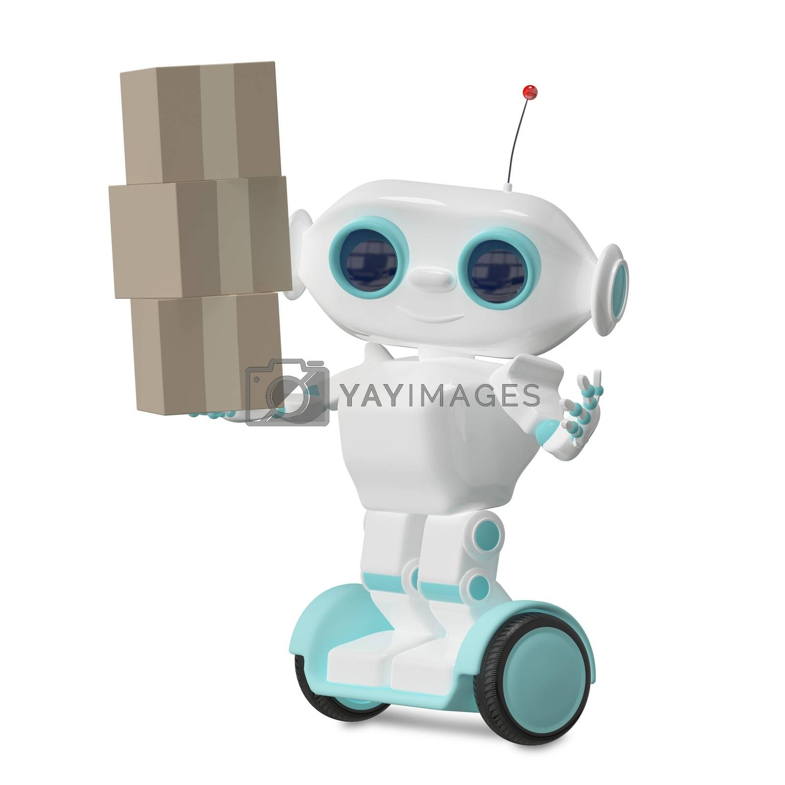 3d Illustration White Robot on Scooter with Three Box