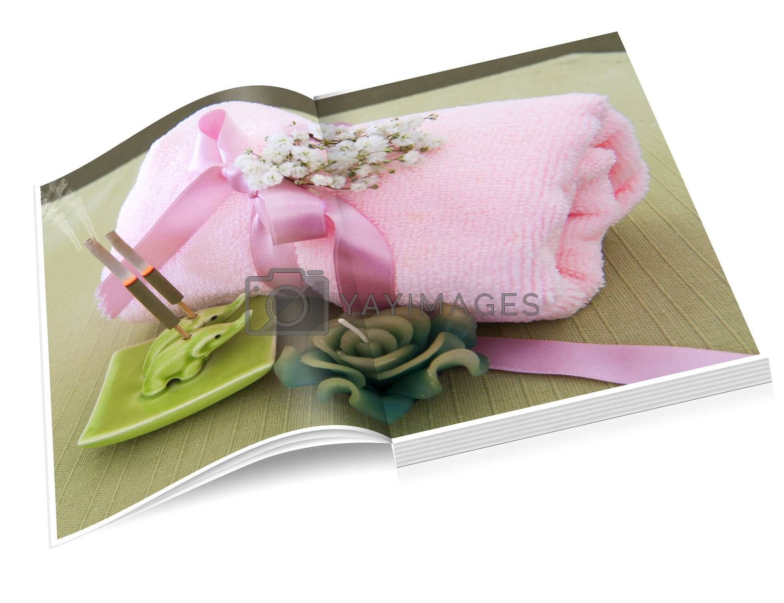 book illustration of pink towel, incense sticks and candle