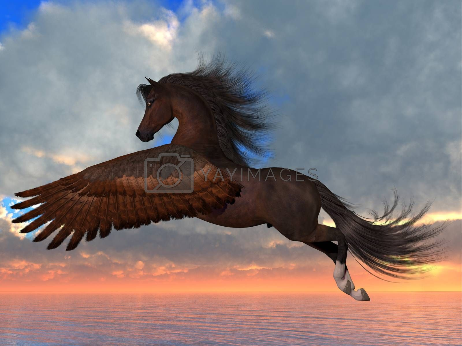 An Arabian Pegasus horse flies over the ocean with powerful wing beats on his way to his destination.