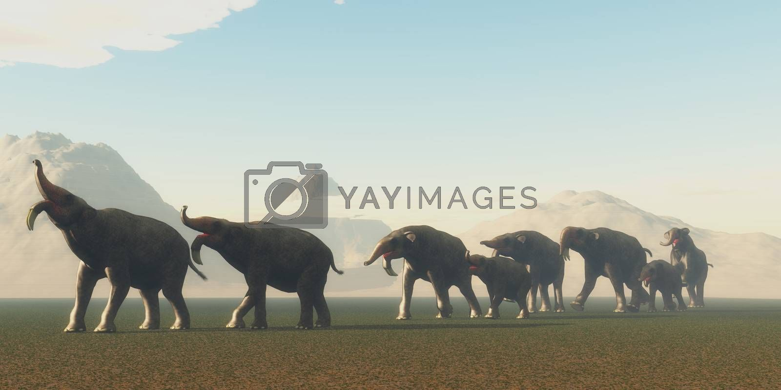 A herd of Deinotherium mammals head to a watering hole in the Pleistocene Period of Africa.