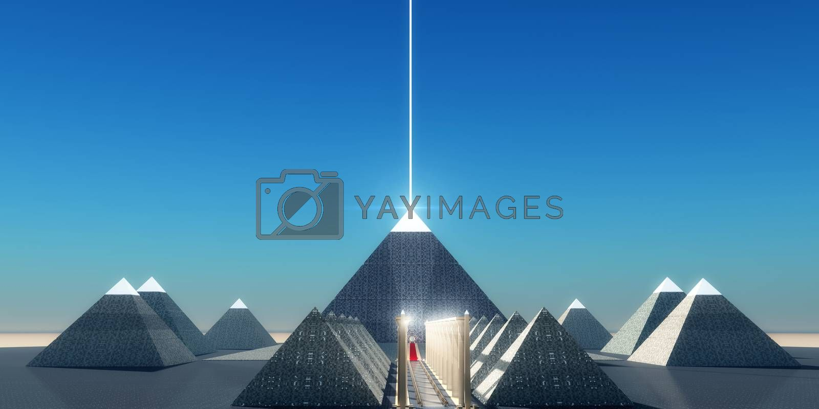 A beam of light shines from the top of an Egyptian pyramid to transport the spirit of the Pharaoh into the heavens.