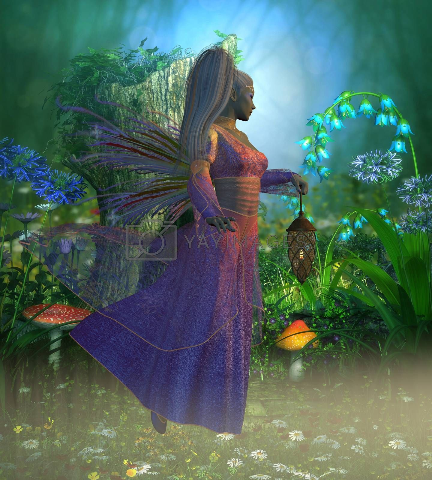 Fairy Laryn flies through the misty forest in the evening holding a bright lantern to light her way.