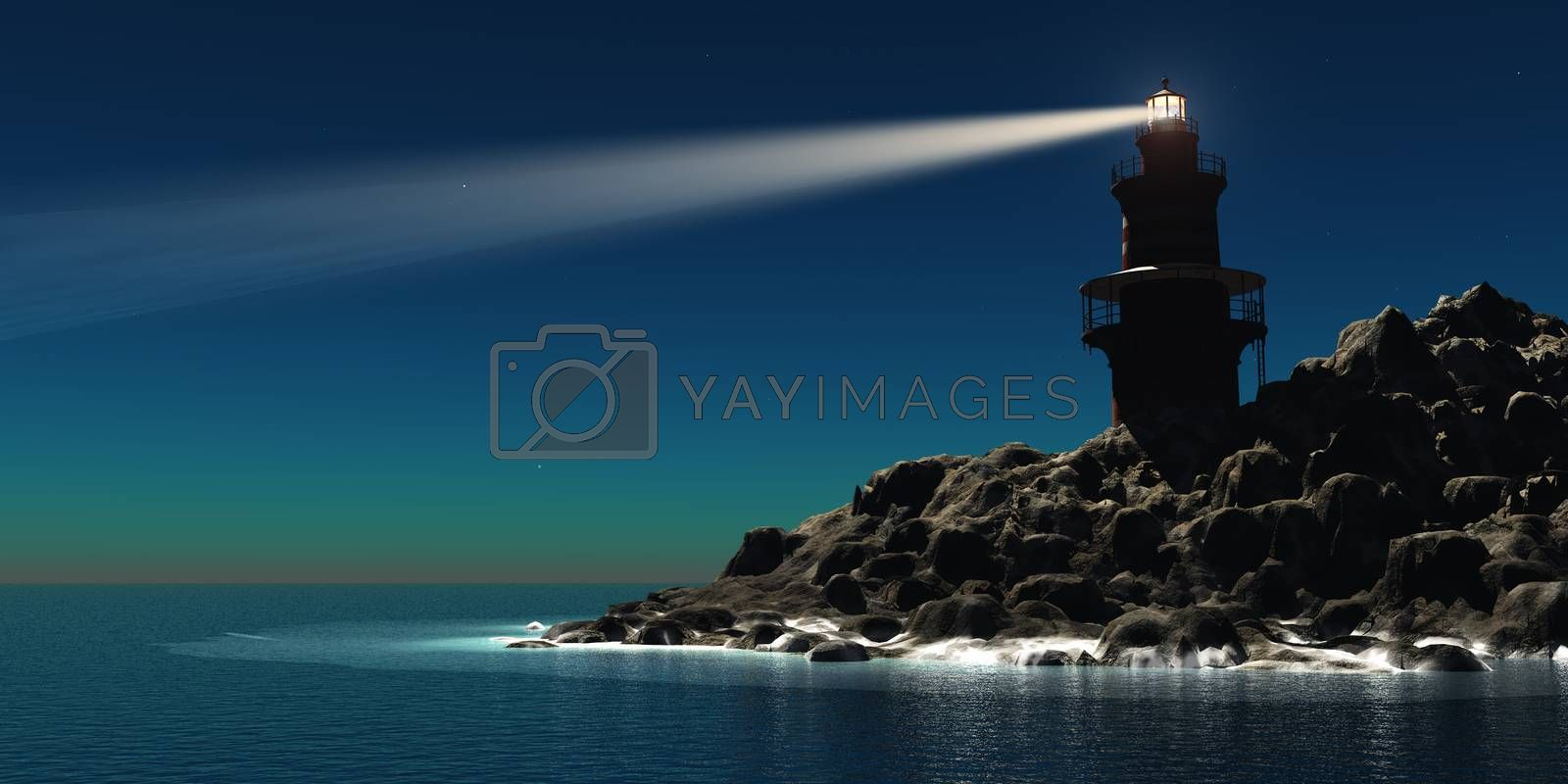 A red and white lighthouse guides sailors and boatmen away from the rocky shoreline.
