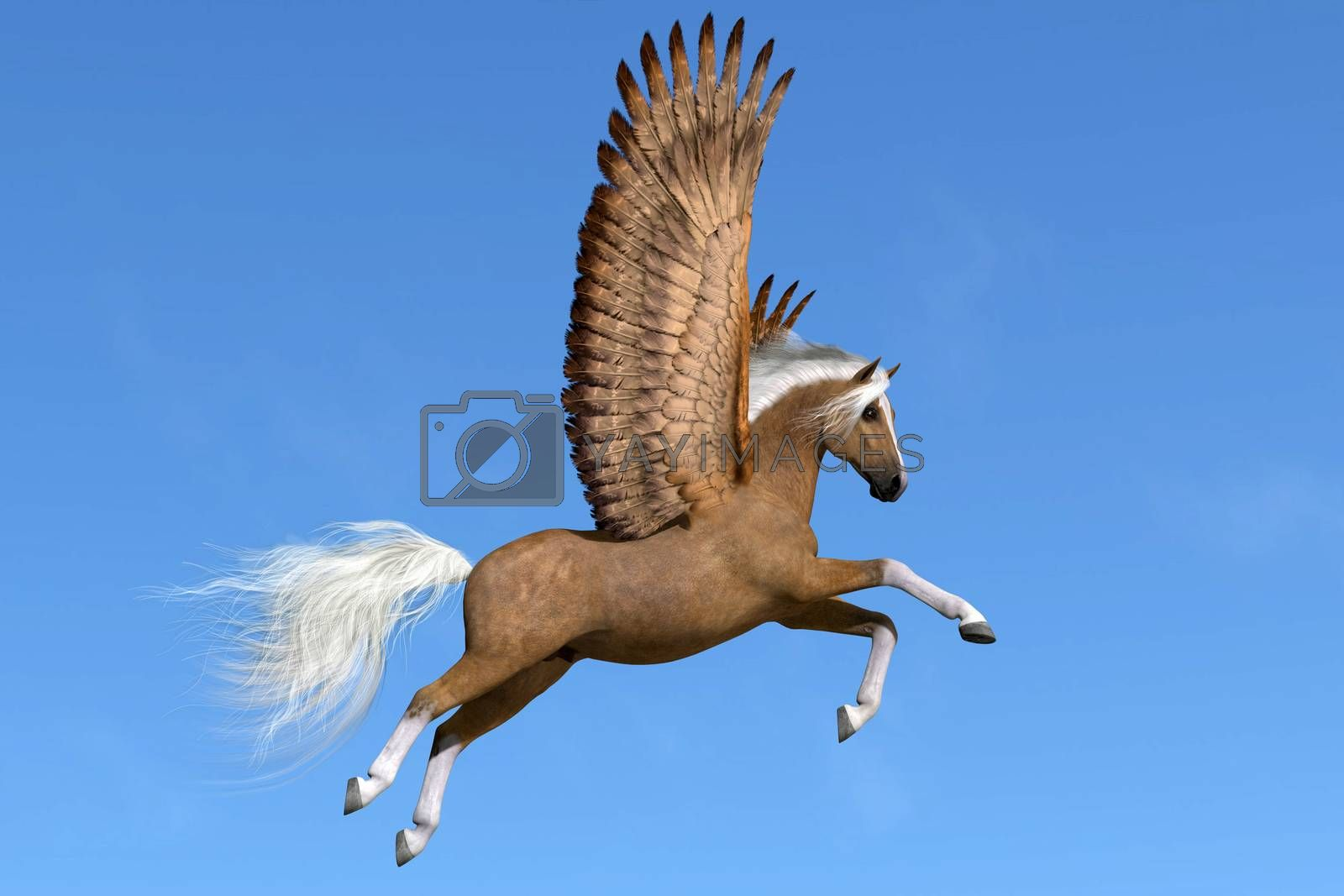 A palomino Pegasus flies on powerful wings on a clear spring day to his next destination.
