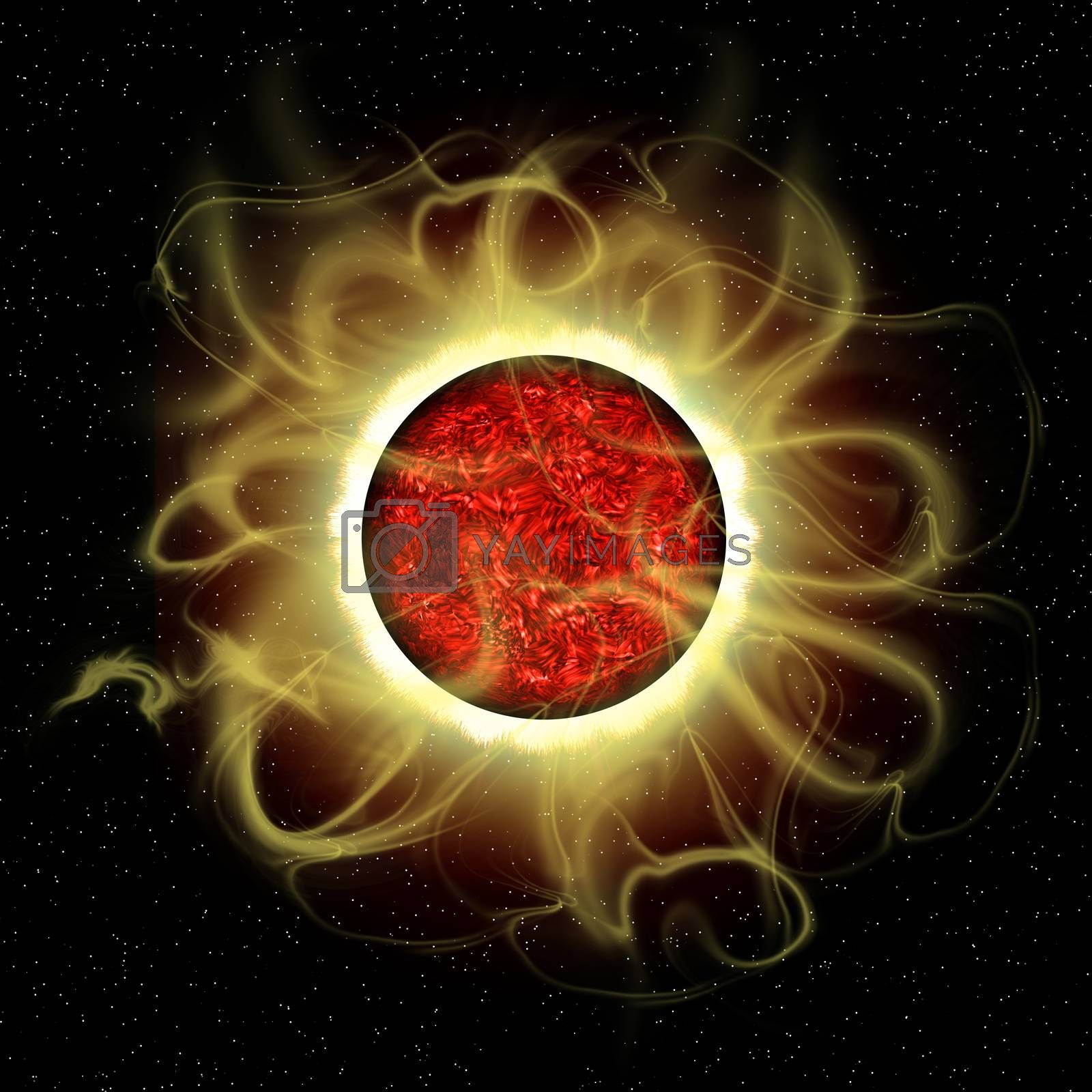 The sun is a molten composite of metals and gases and every 11 years there is a cycle of solar flare activity caused from disruption of magnetic fields.