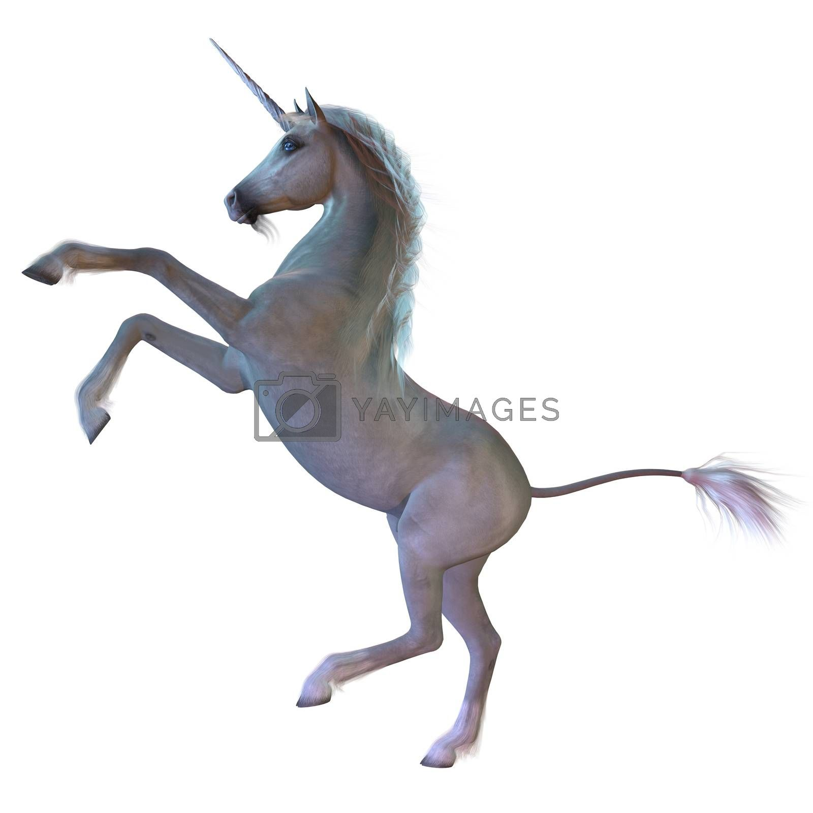 A Unicorn is a white magical horse with cloven hoofs, a forehead horn and a beard and is a creature of mythology.
