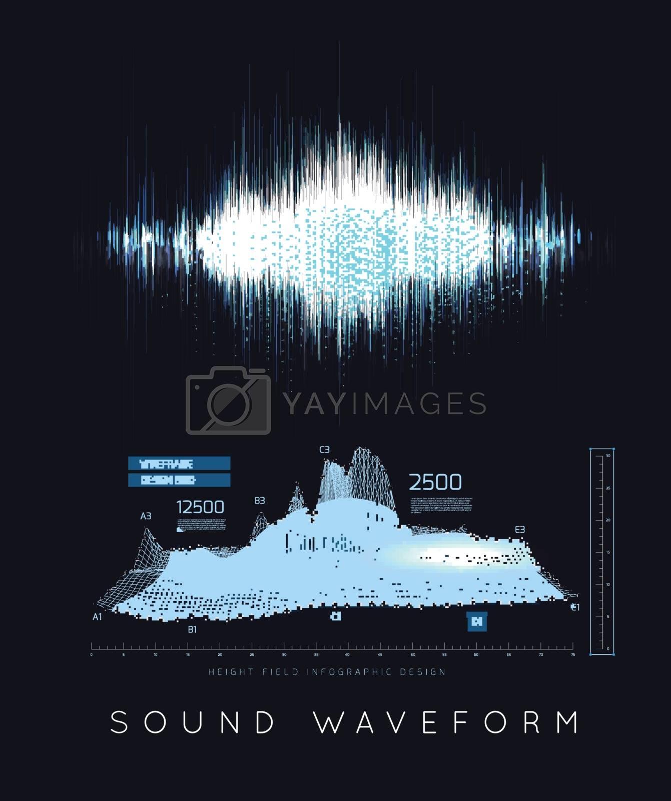 Graphic musical equalizer, sound waves, on a black background. Vector illustration
