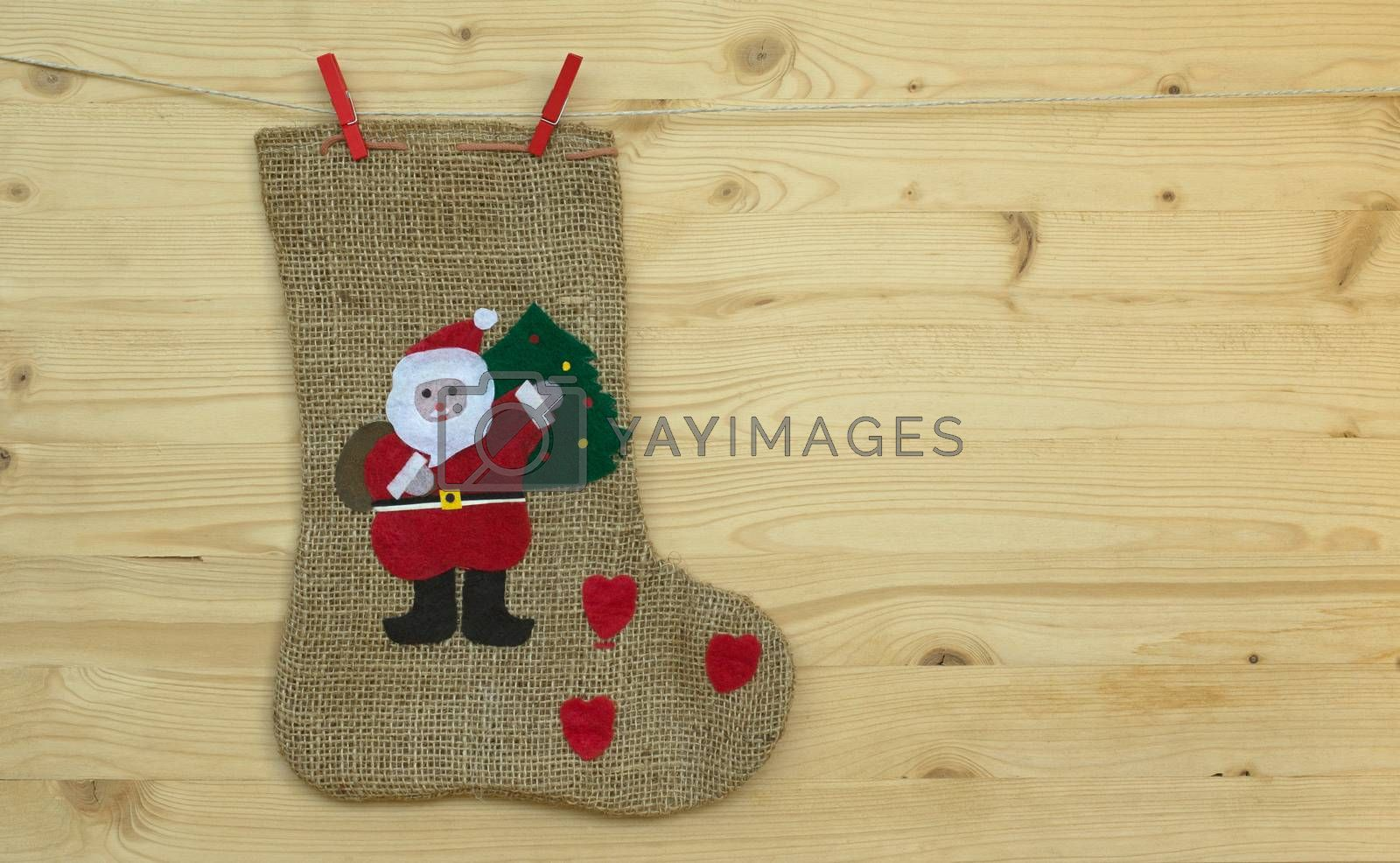 Christmas socks and the words Merry Christmas and a happy new year, christmas card