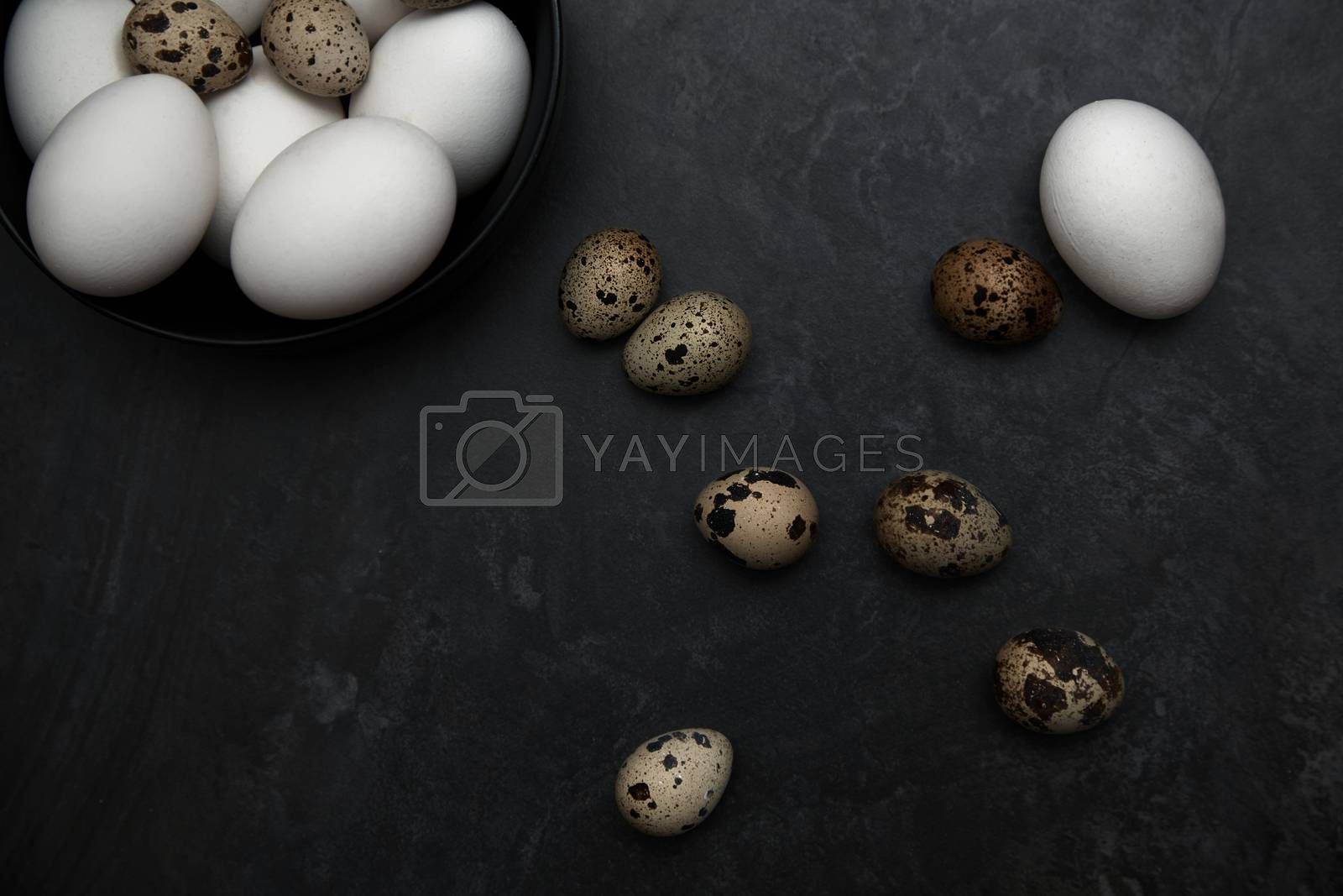 Quail and chicken eggs on a table by Novic