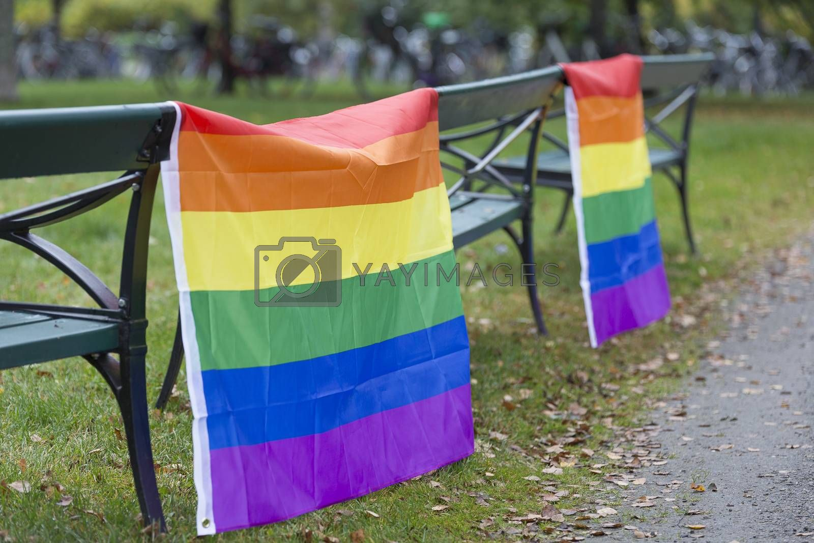 Rainbow Flags hanging on benches.