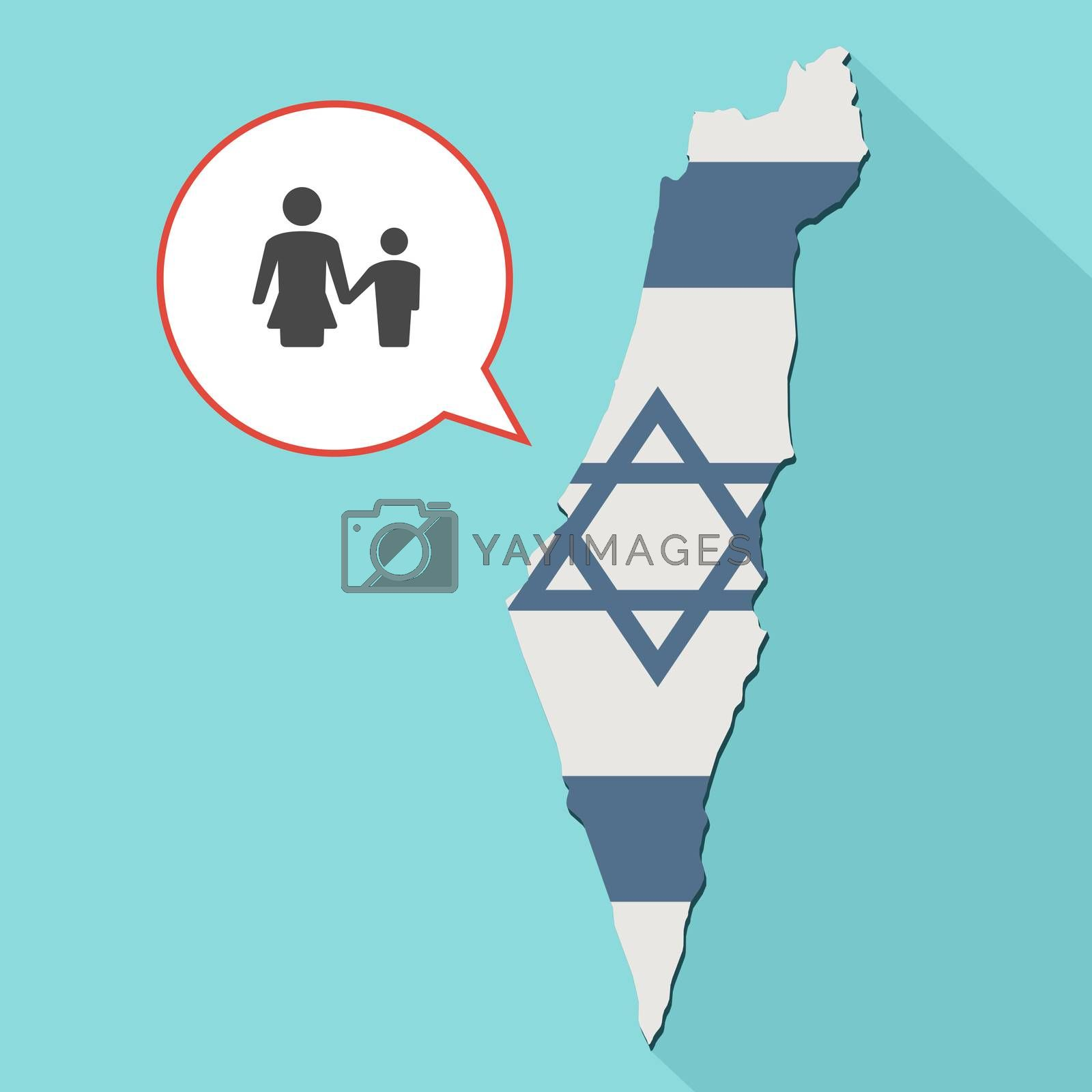 Animation of a long shadow Israel map with its flag and a comic balloon with a female single parent family pictogram