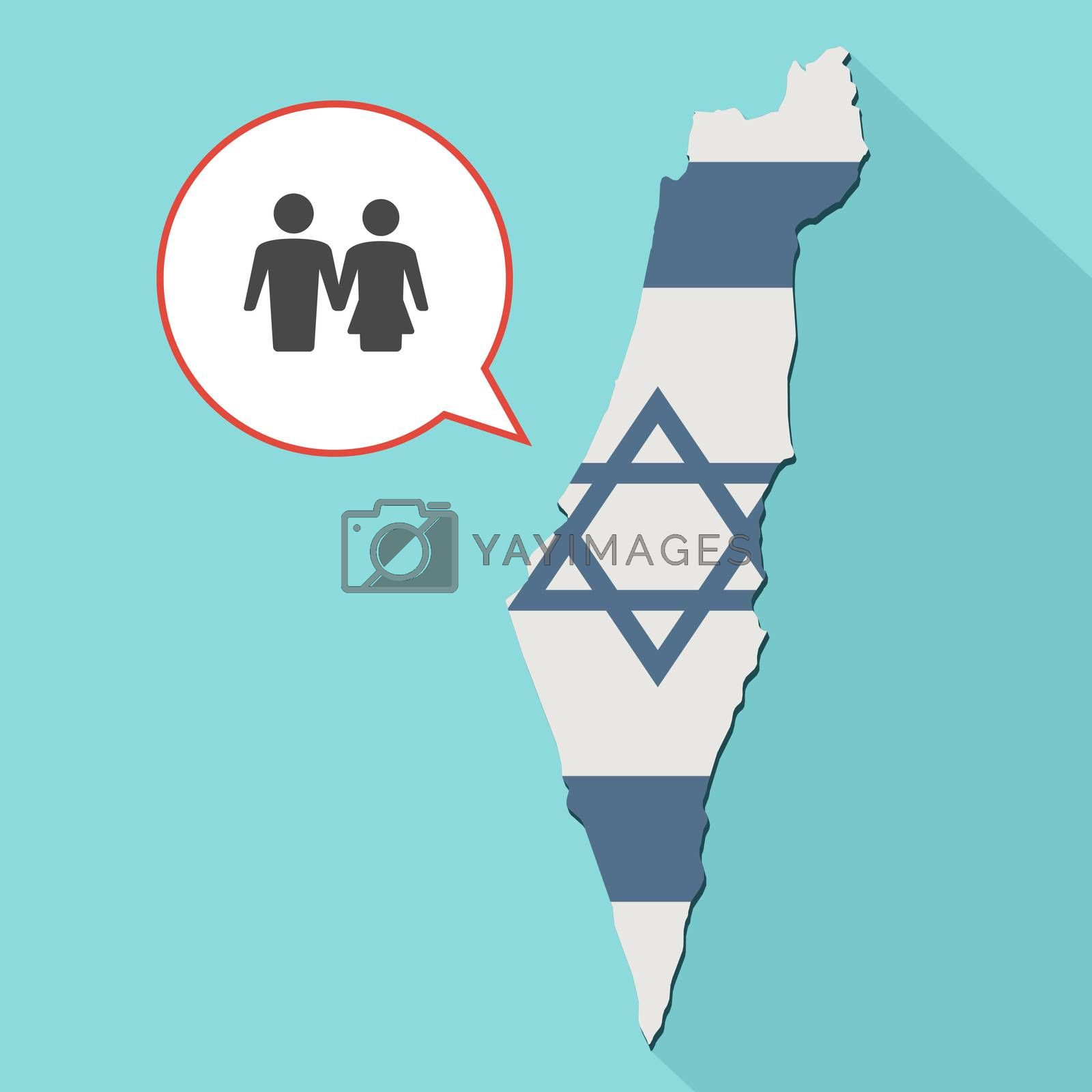 Animation of a long shadow Israel map with its flag and a comic balloon with a heterosexual couple pictogram