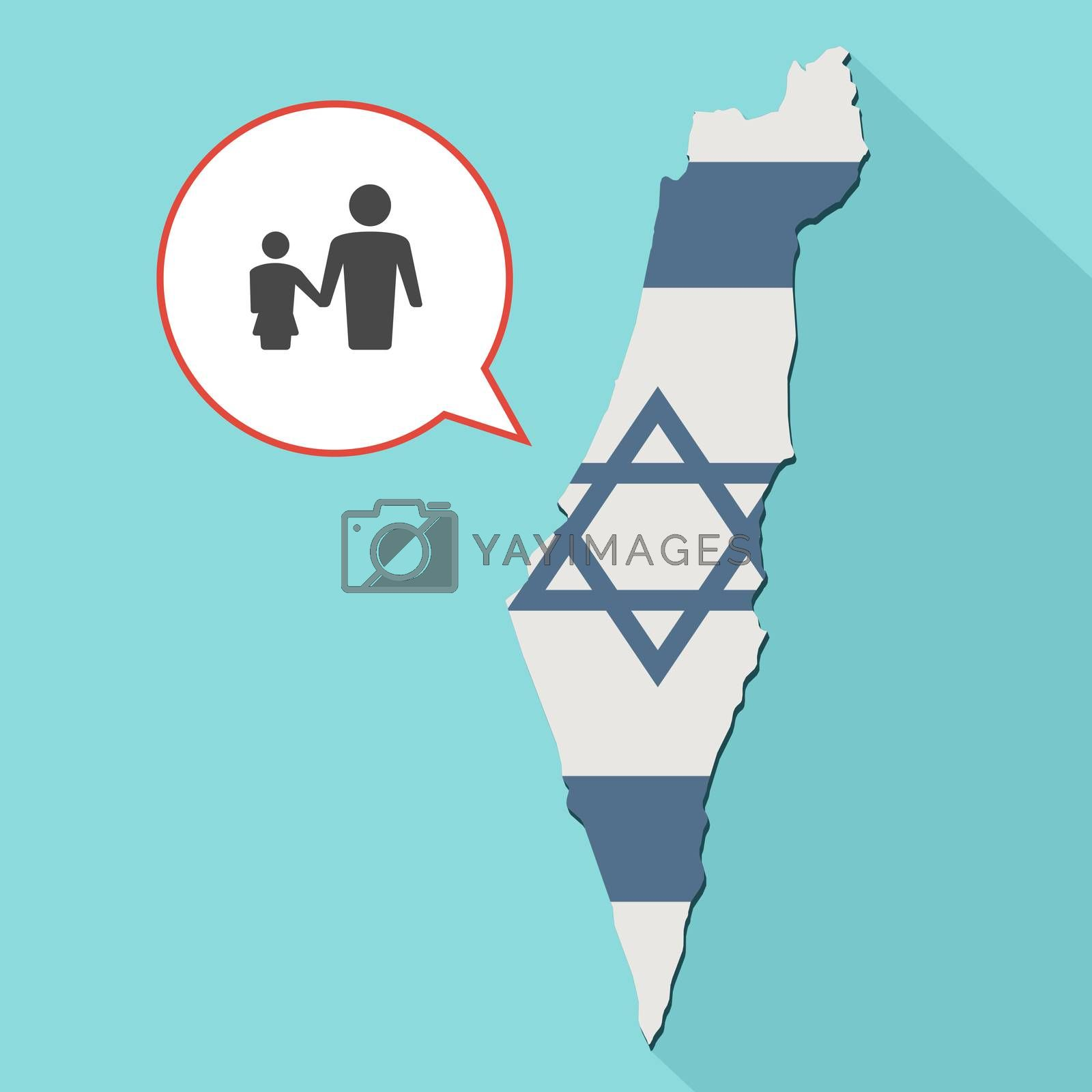 Animation of a long shadow Israel map with its flag and a comic balloon with a male single parent family pictogram