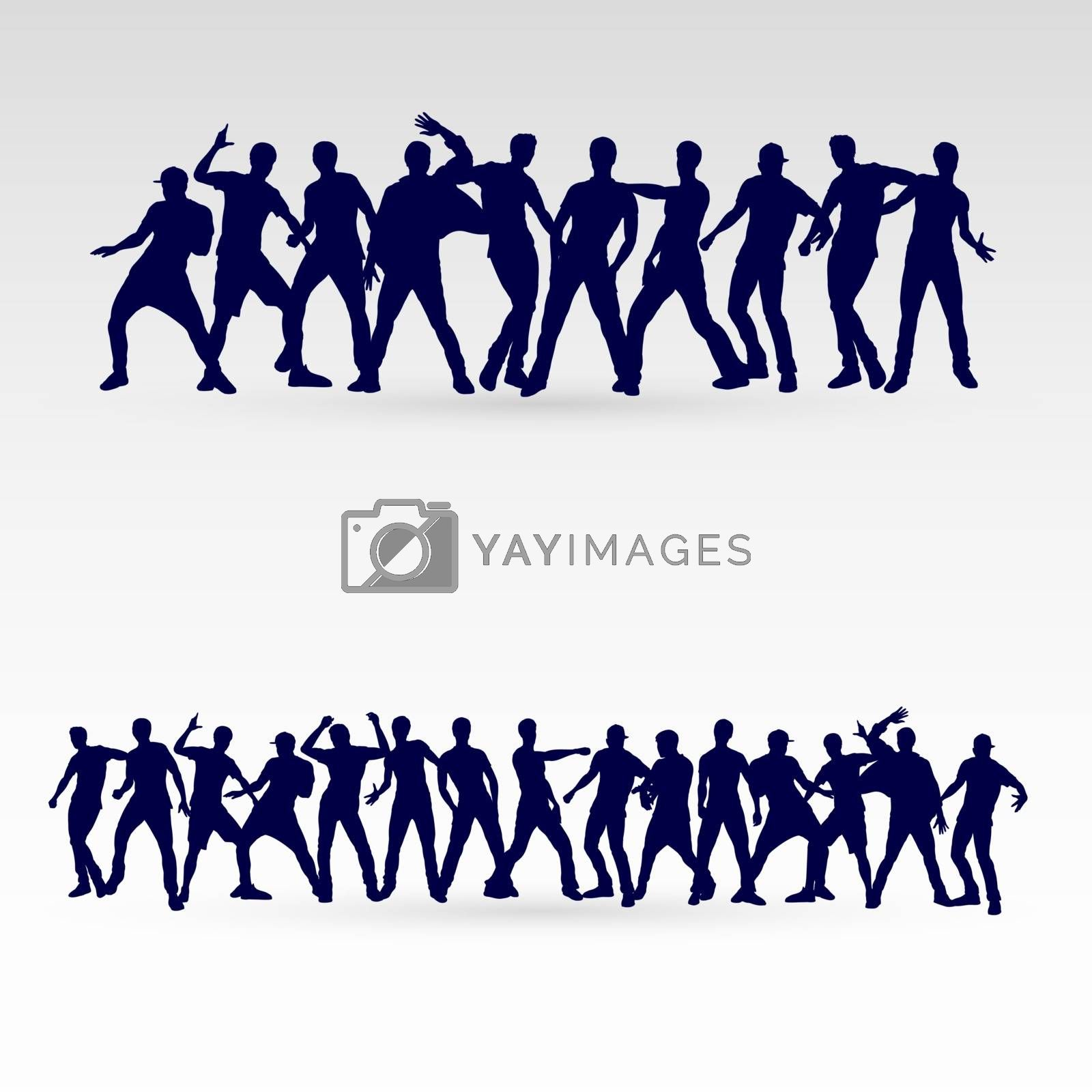 Large Set of Silhouette Dancing Males in Different Poses on the Dance Floor for Desgin Templates