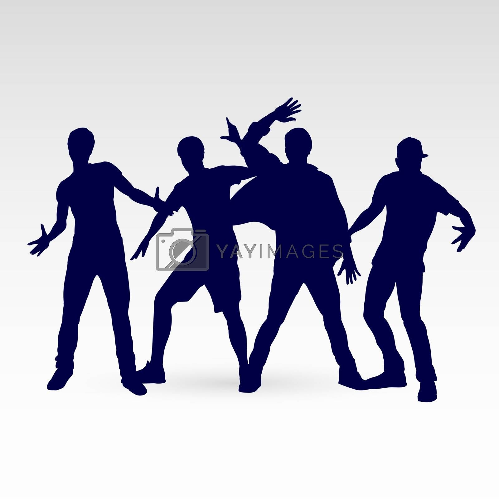 Set of Four Silhouette Dancing Males in Different Poses on the Dance Floor. Hip Hop Choreography