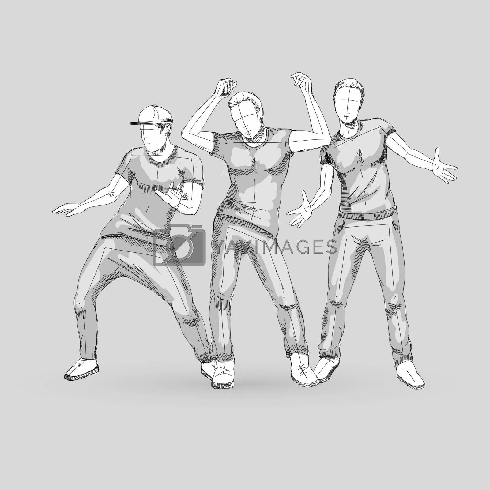 Set of Sketch Dancing Males in Different Poses on the Dance Floor