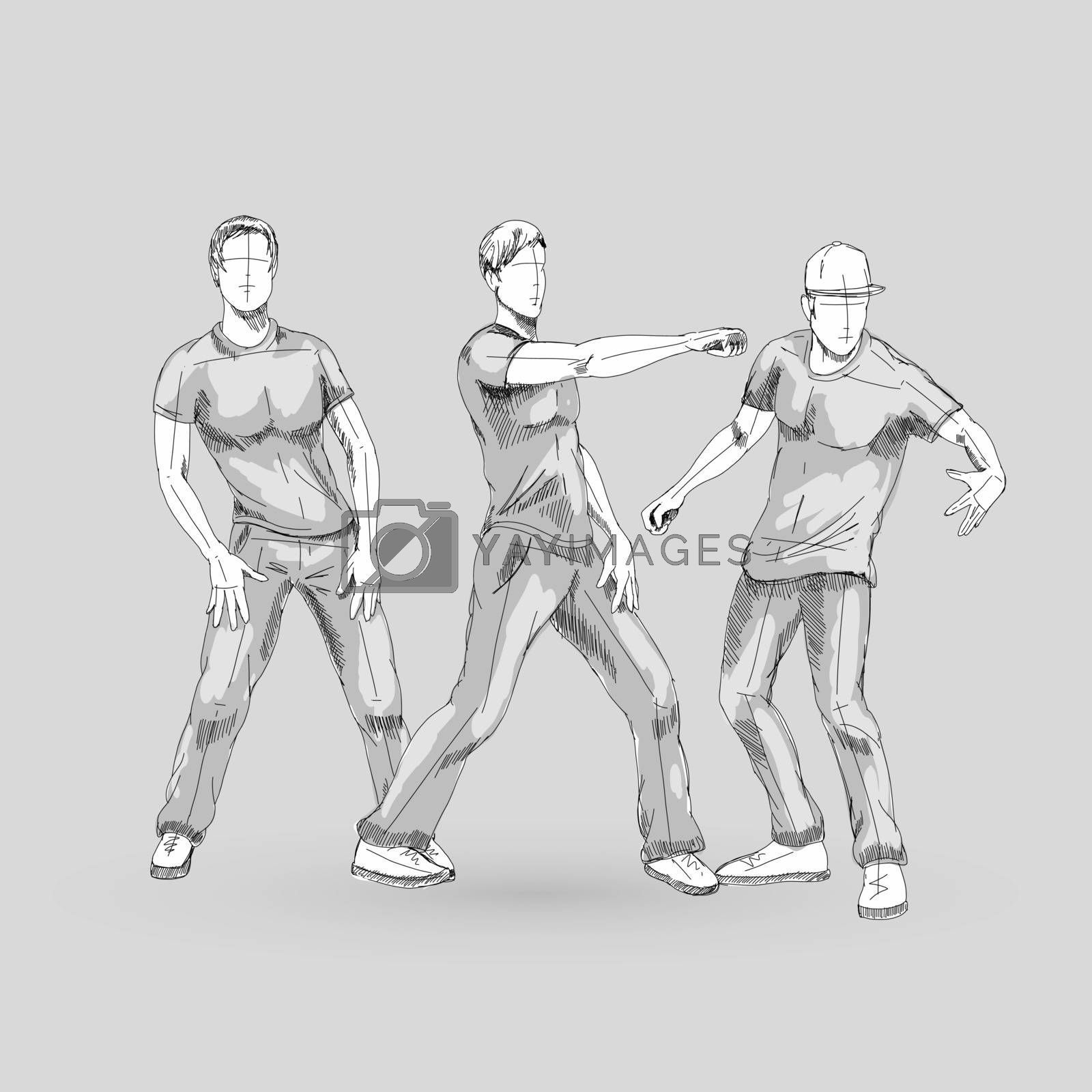 Set of Sketch Dancing Males in Different Poses on the Dance Floor. Hip Hop Choreography