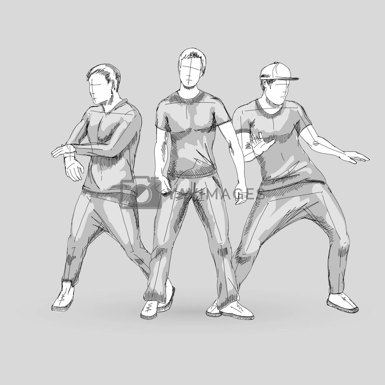 Set of Three Sketch Dancing Males in Different Poses on the Dance Floor