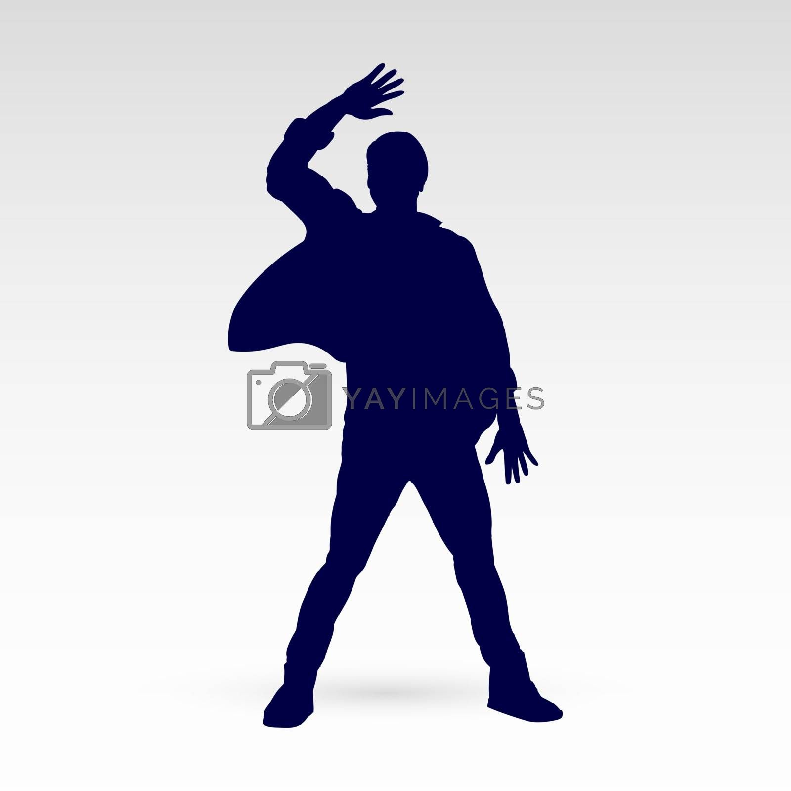 Silhouette of a Modern Dancer Man Poses in Front of the Gray Background