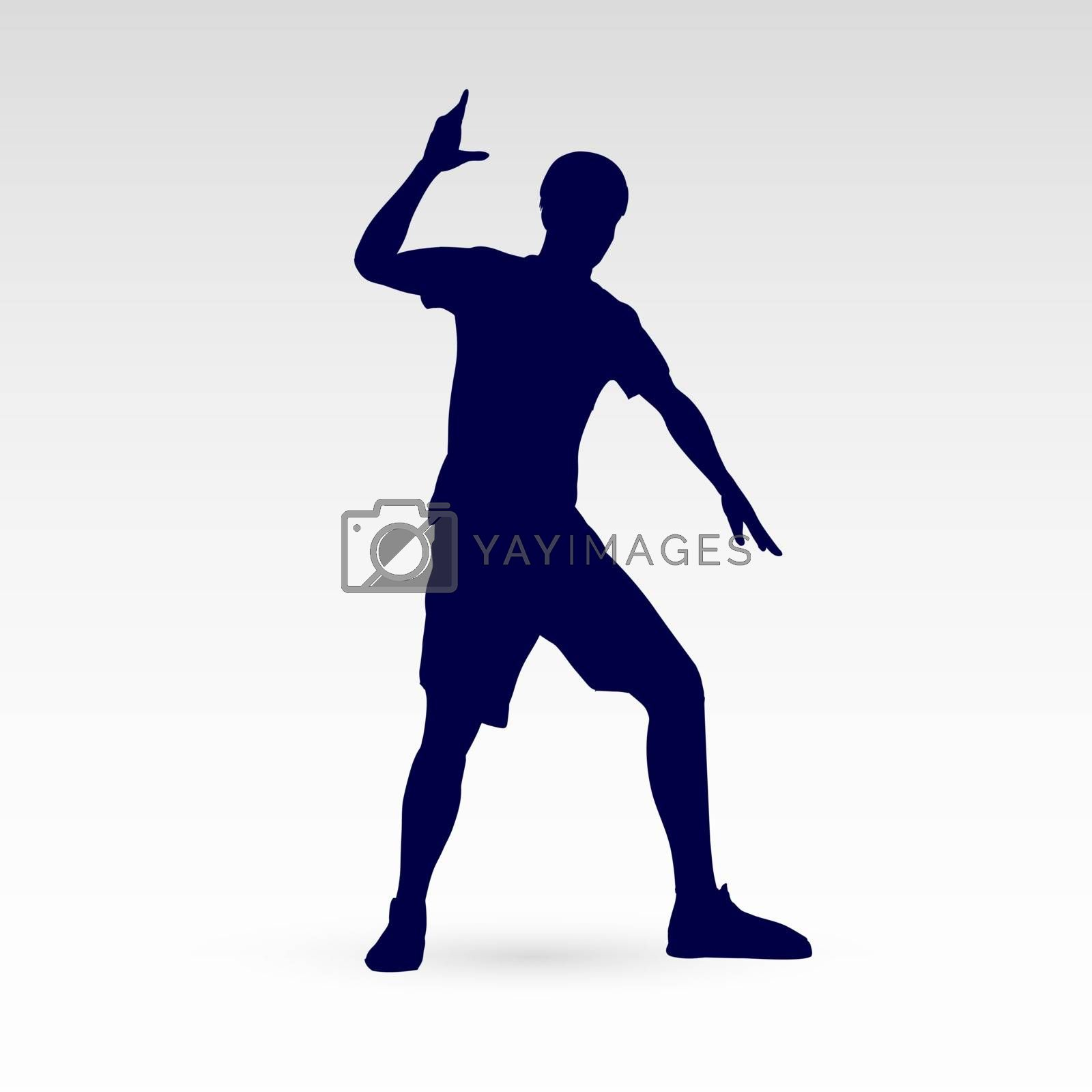 Silhouette of a Modern Dancer Man Poses in Front of the Gray Background for Design