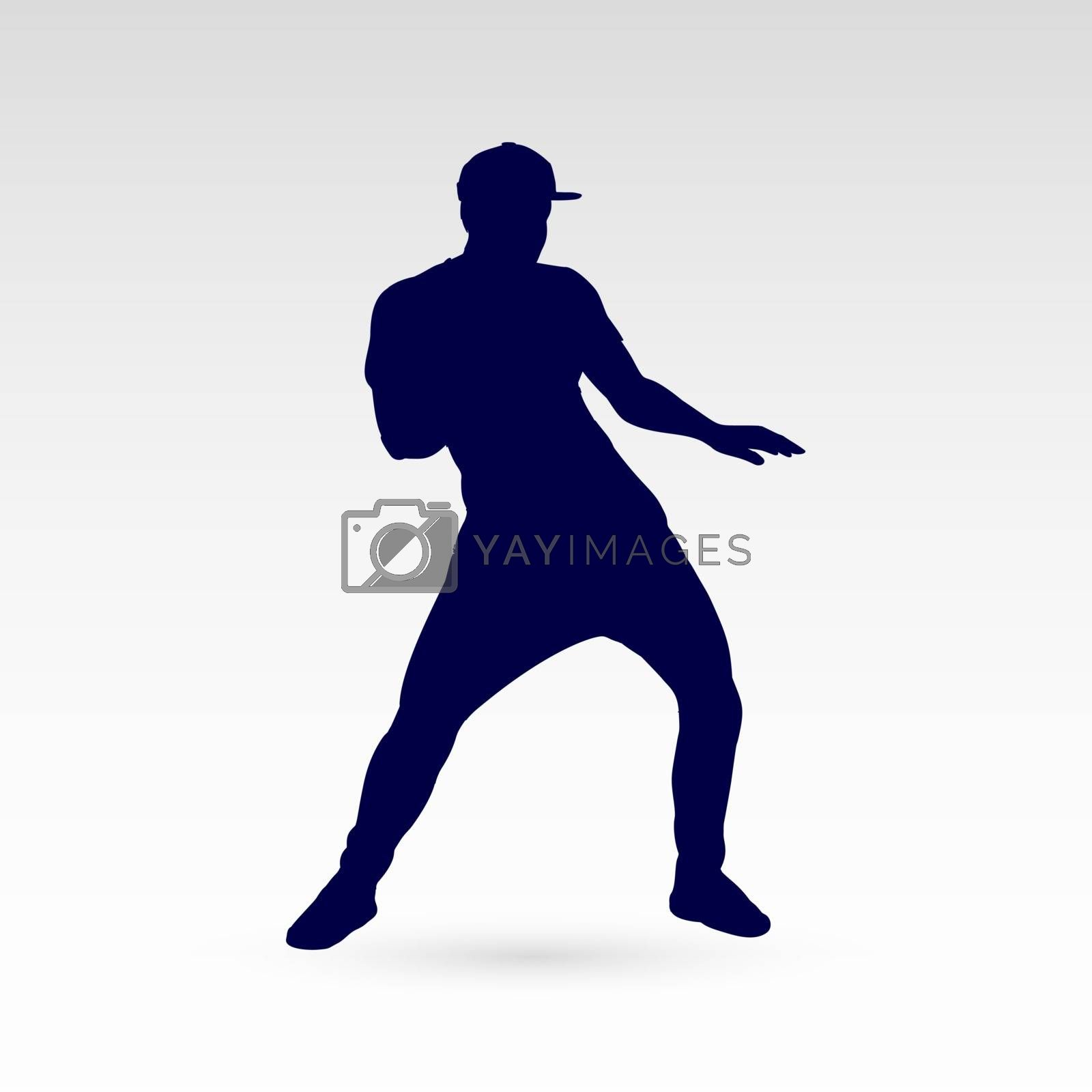 Modern Style Dancer Silhouette of a Man Dancer Hip Hop Choreography on Gray