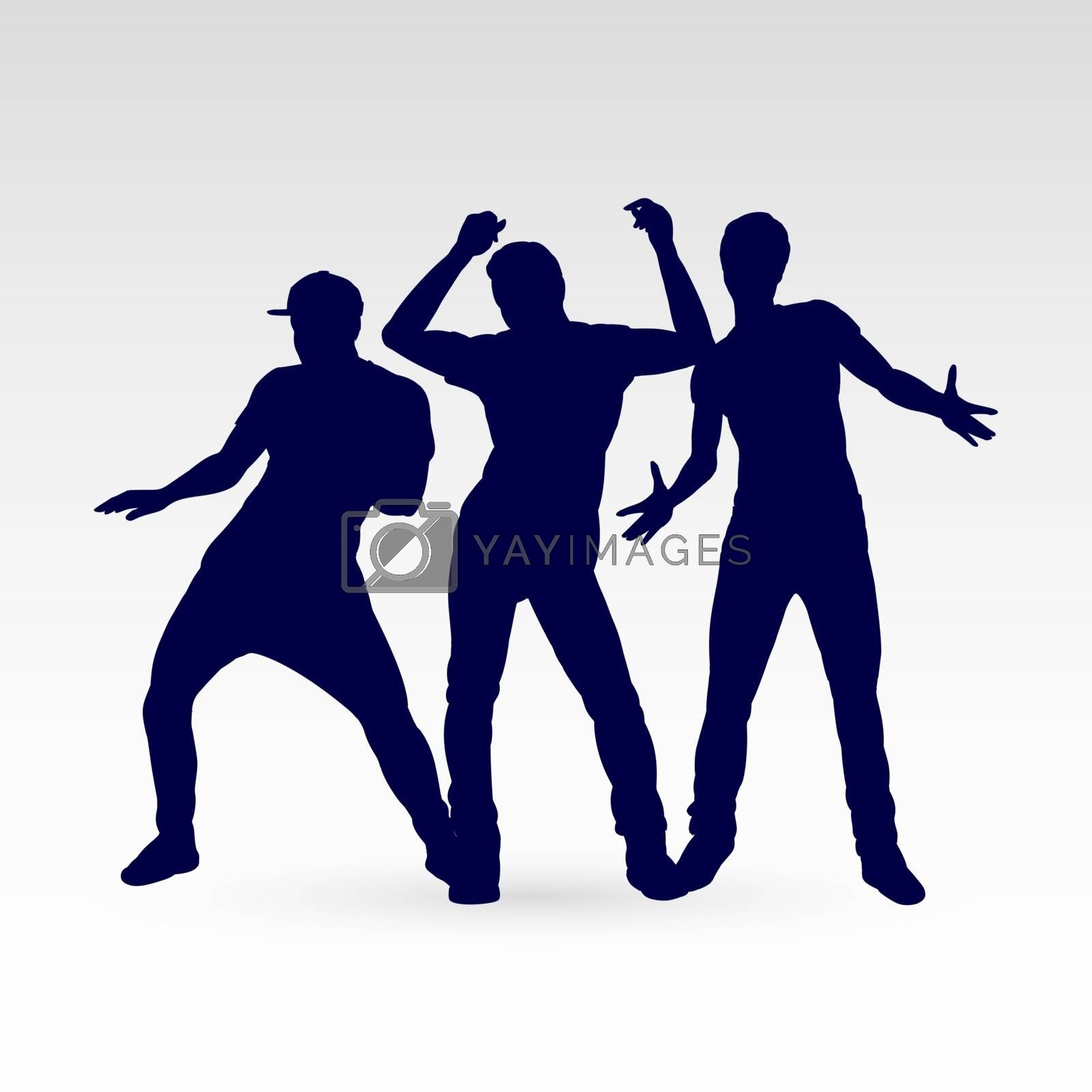 Set of Silhouette Dancing Males in Different Poses on the Dance Floor for Desgin Templates