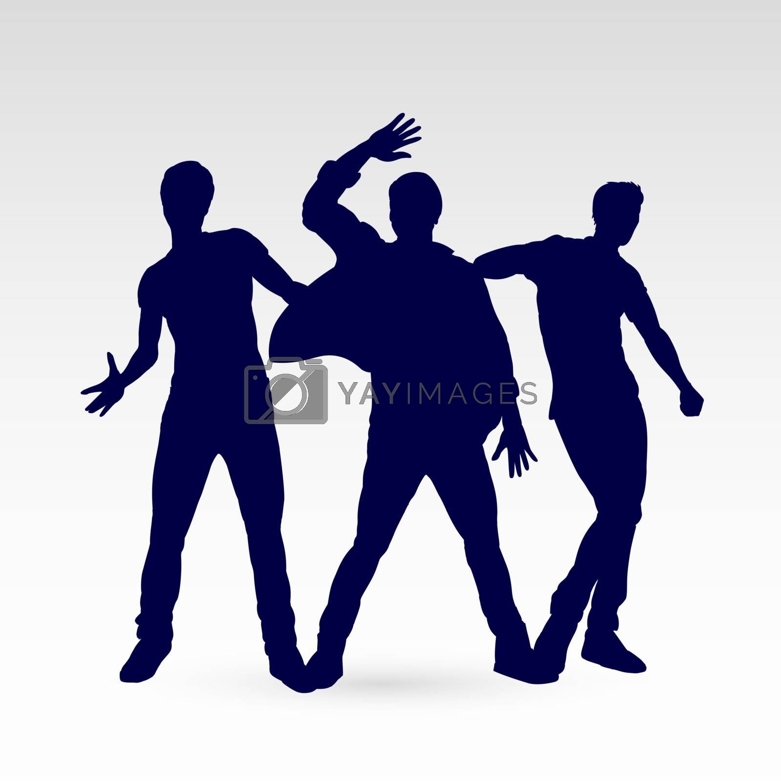Set of Silhouette Dancing Males in Different Poses. Illustration for Design