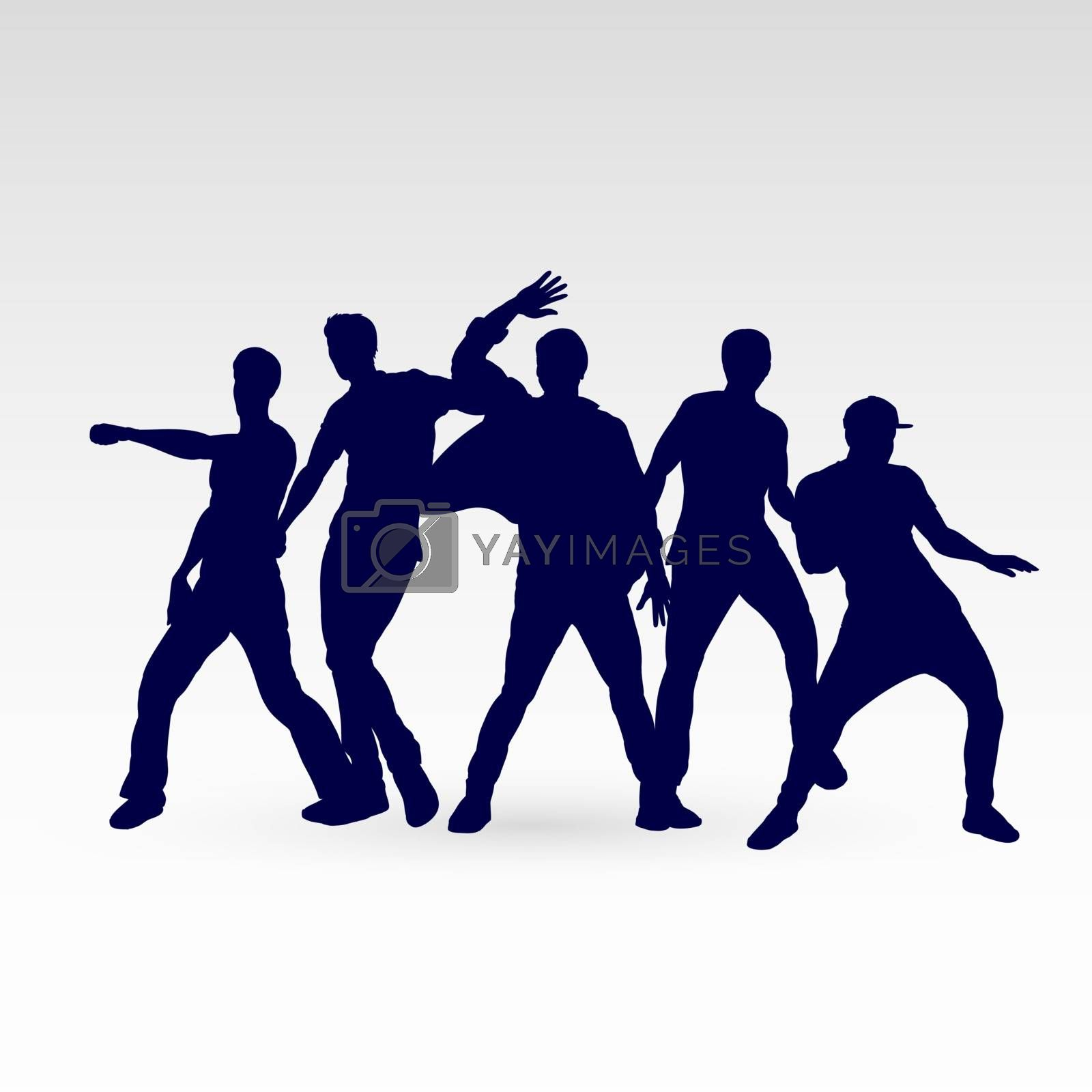 Set of Silhouette Dancing Males in Different Poses for Desgin Templates